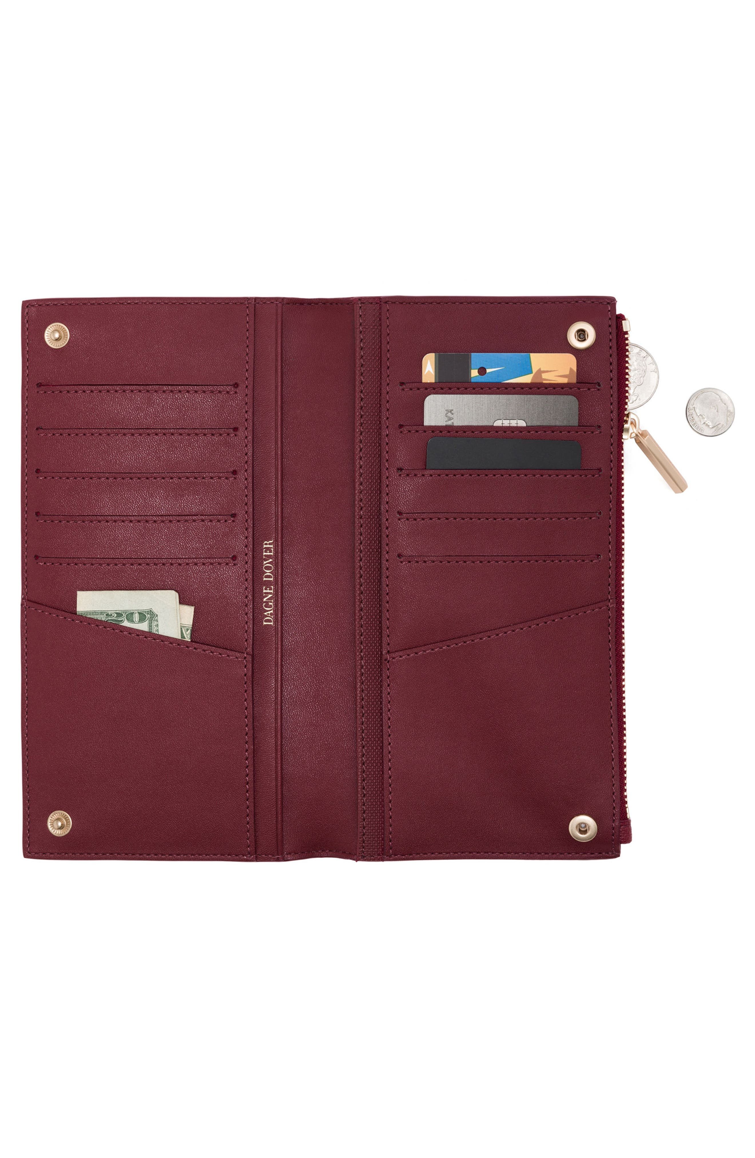 Signature Slim Coated Canvas Wallet,                             Alternate thumbnail 2, color,                             Syrah