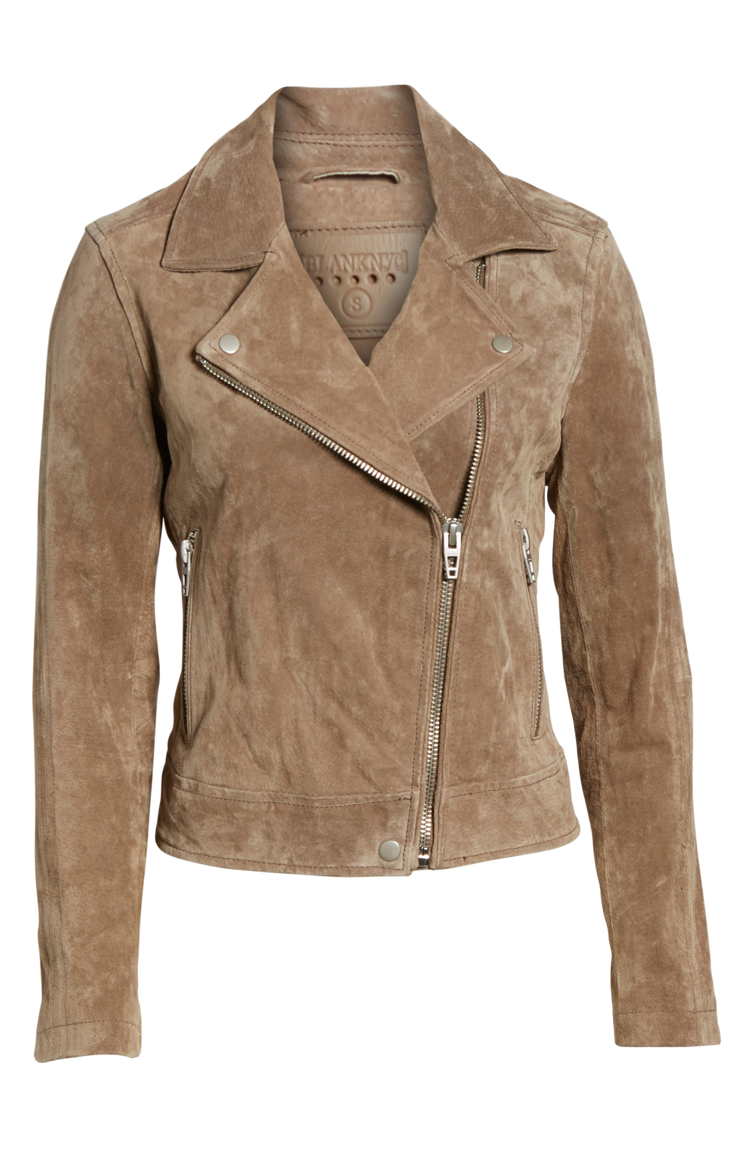 Suede Moto Jacket,                             Alternate thumbnail 5, color,                             Midnight Toker