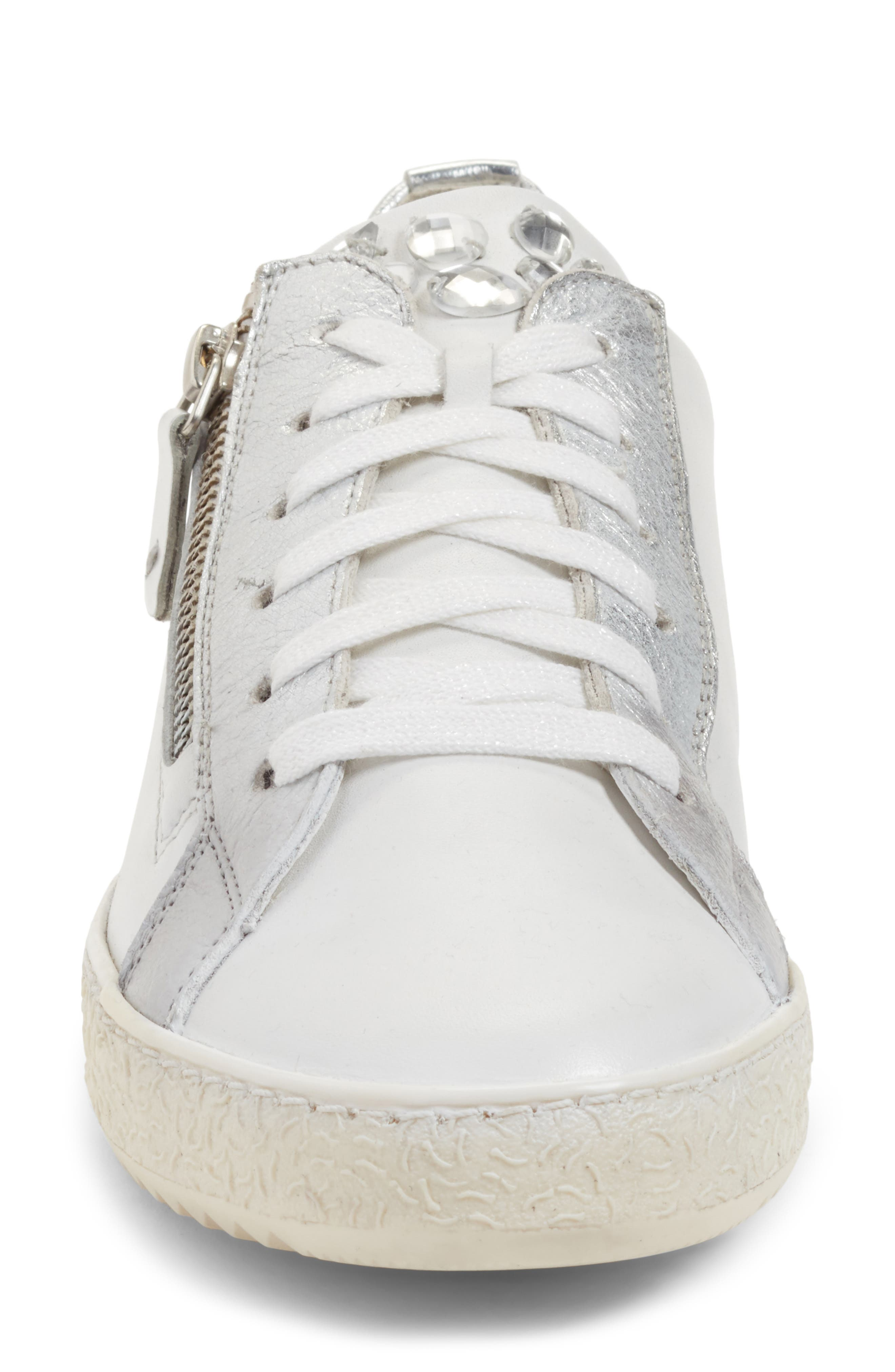 Minnie Sneaker,                             Alternate thumbnail 5, color,                             White/ Silver Leather