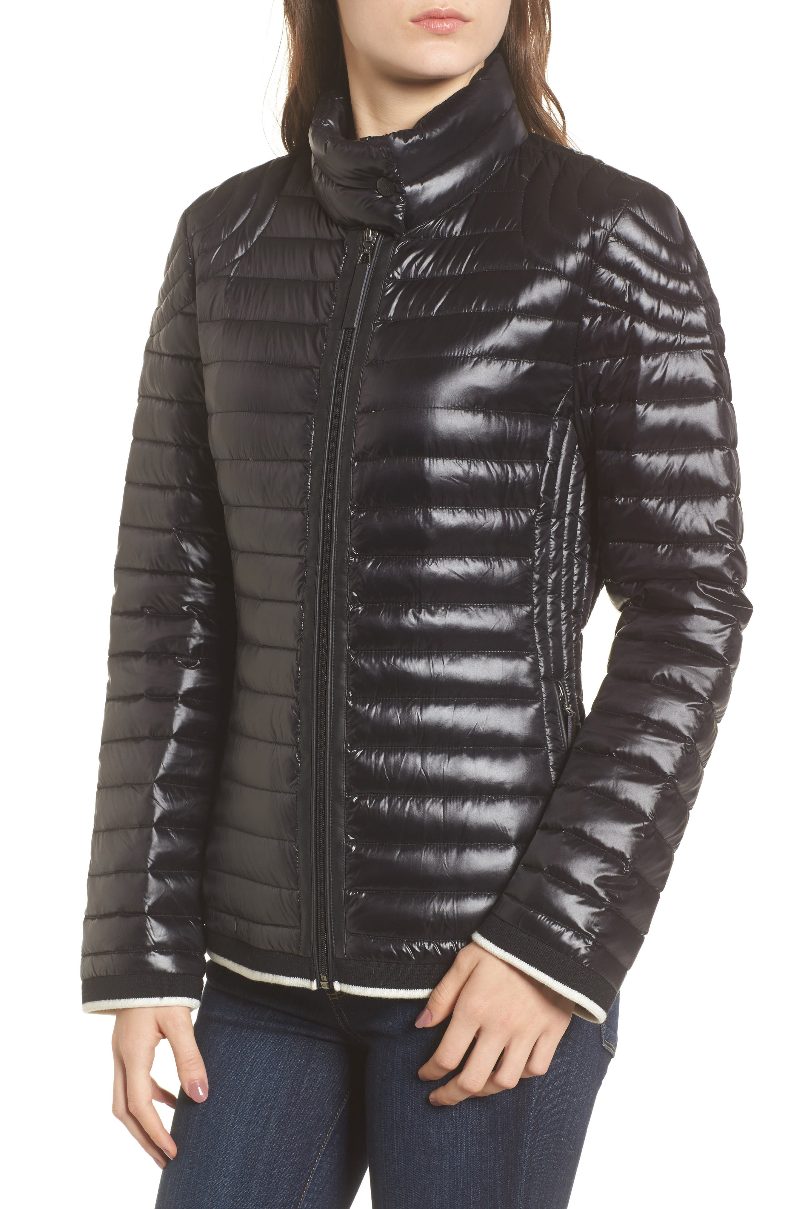Alternate Image 4  - Marc New York Stripe Trim Packable Down Jacket