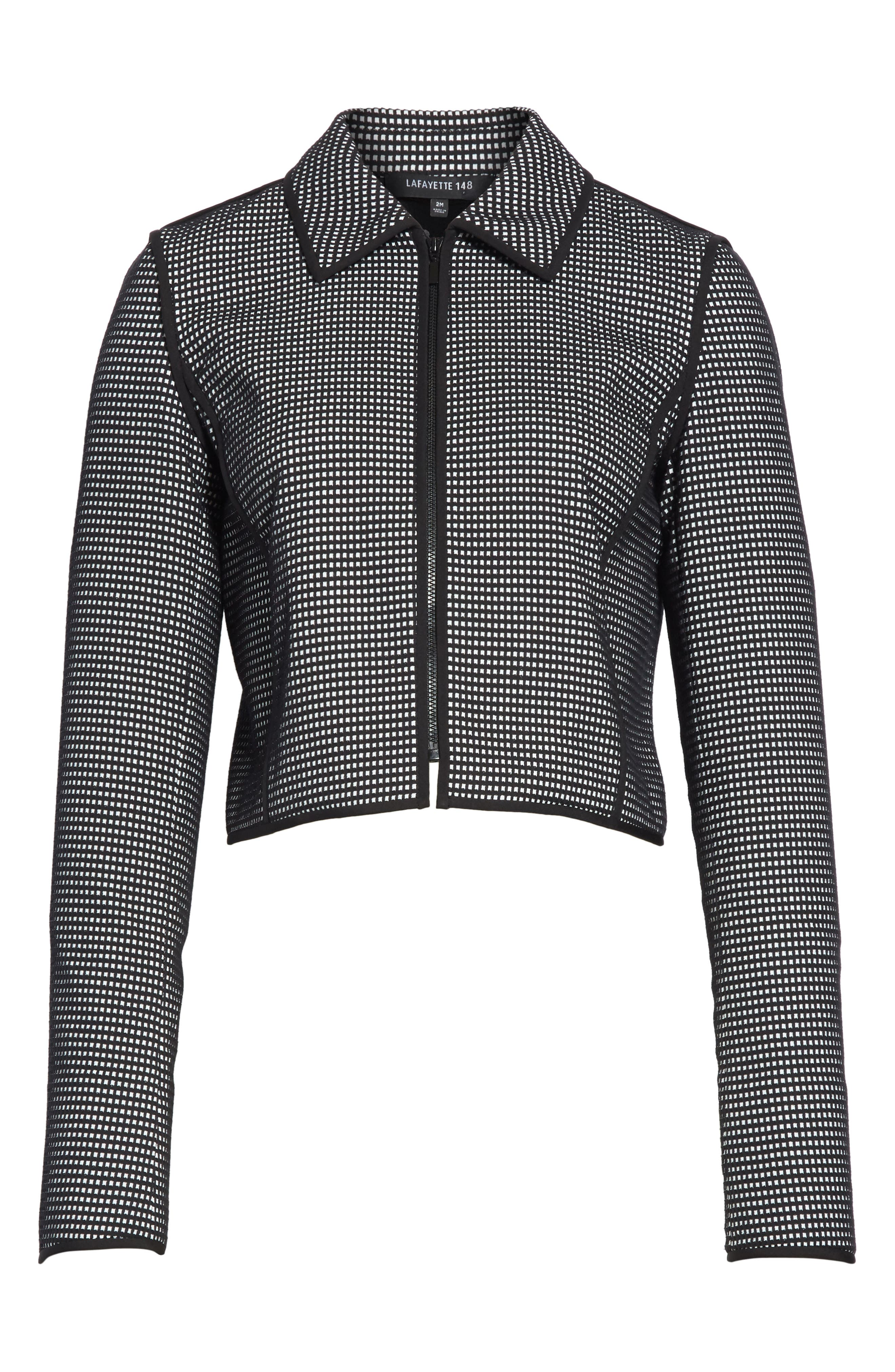 Romina Check Jacket,                             Alternate thumbnail 7, color,                             Black Multi