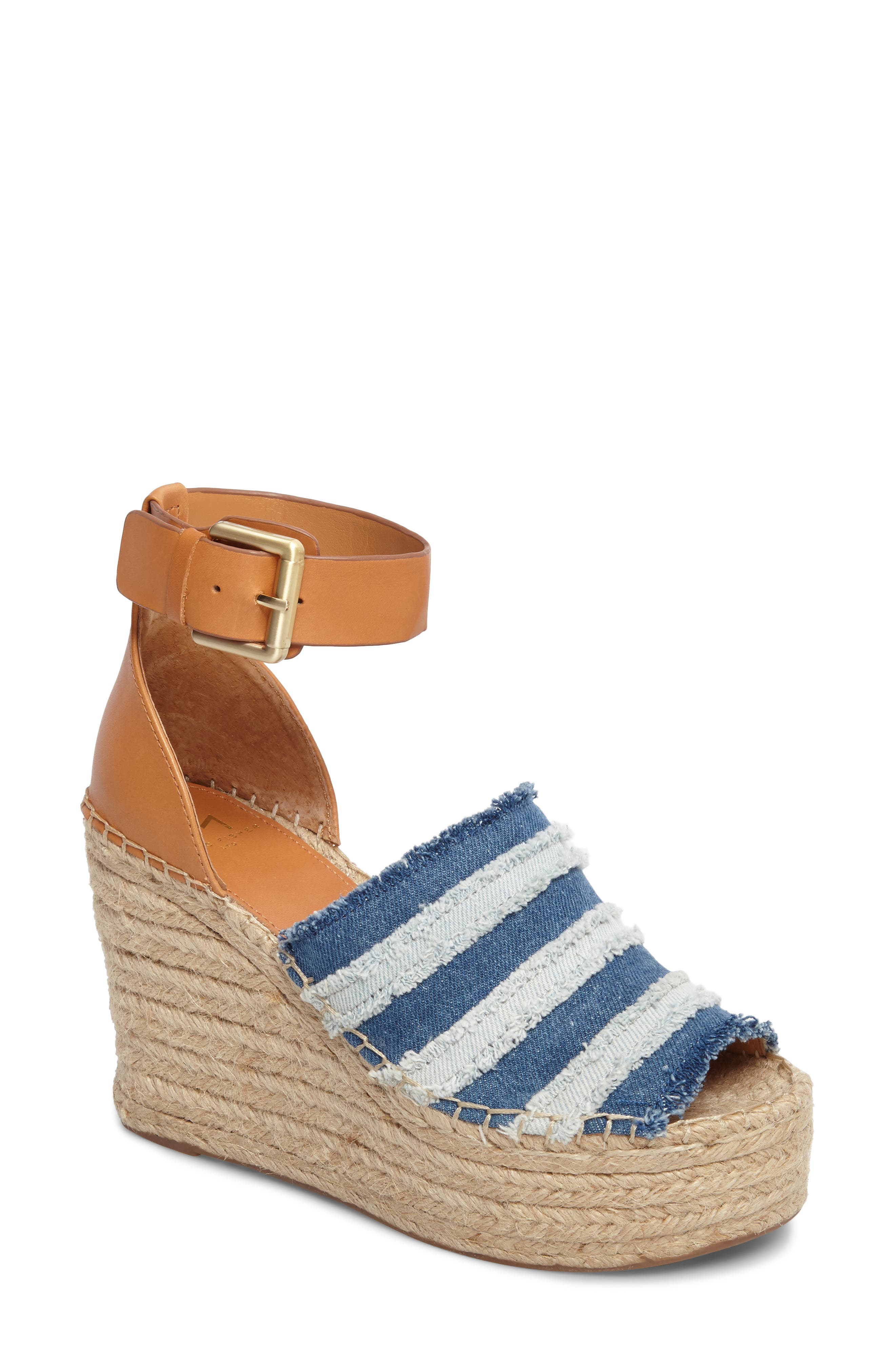 Adria Wedge Sandal,                             Main thumbnail 1, color,                             Washed Denim