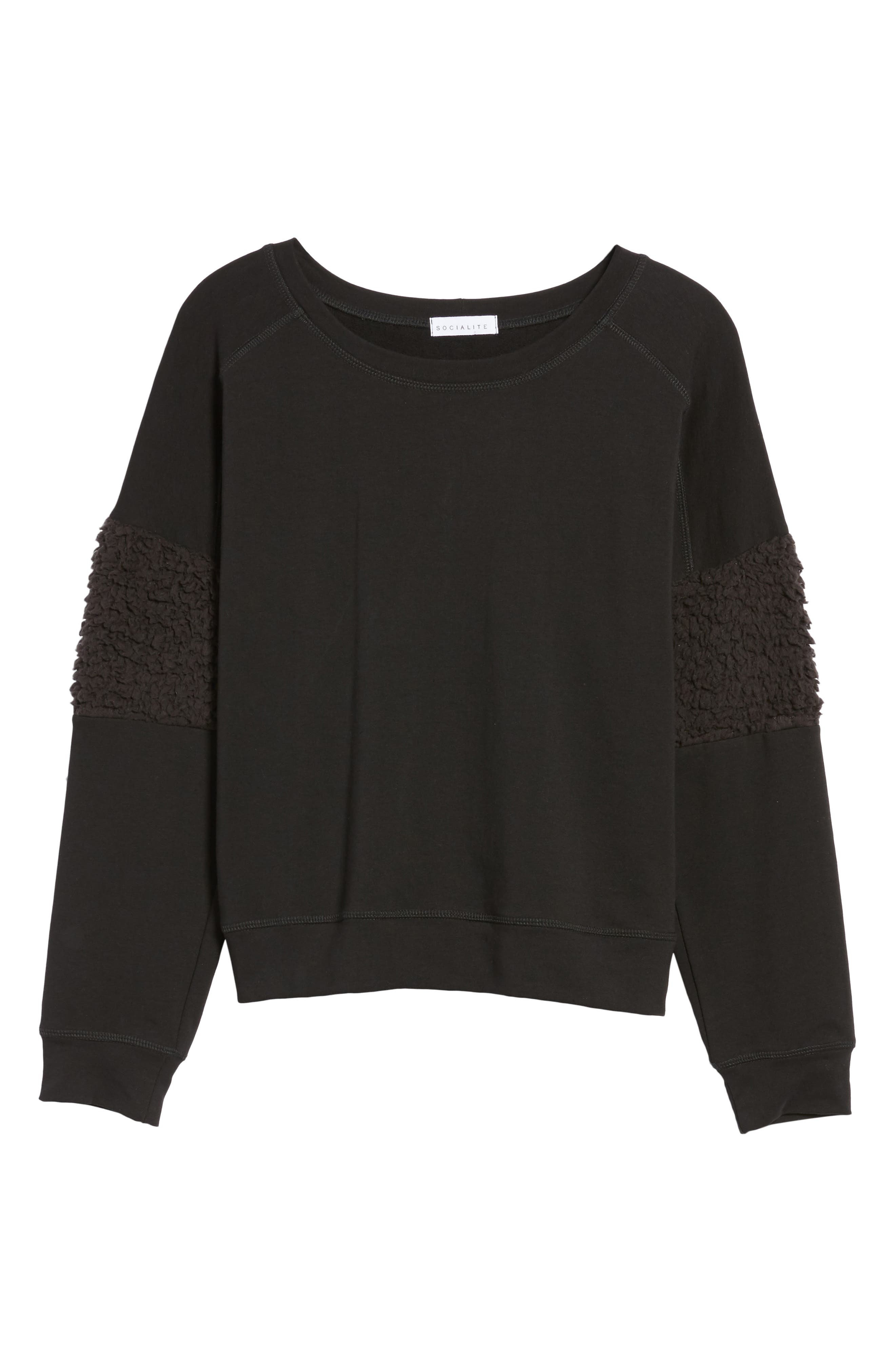 Fleece Panel Sweatshirt,                             Alternate thumbnail 6, color,                             Black