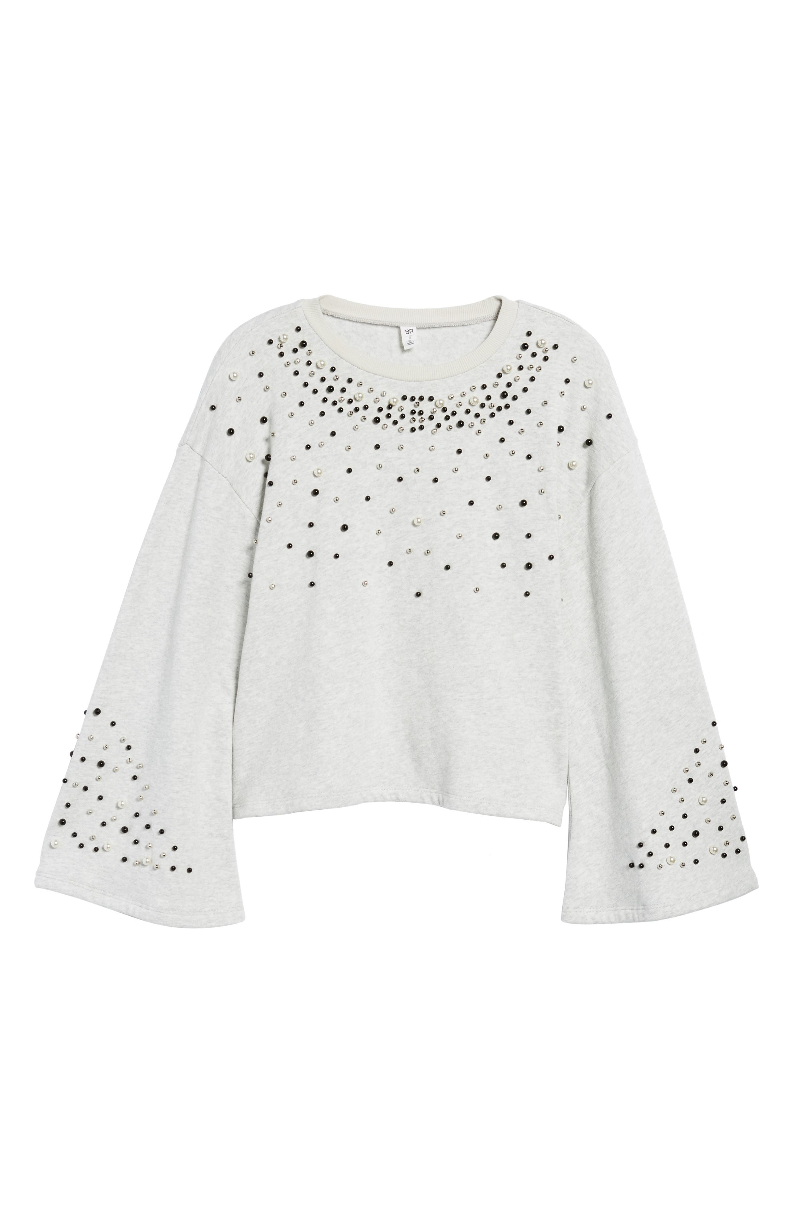 Embellished Bell Sleeve Sweatshirt,                             Alternate thumbnail 6, color,                             Grey Light Heather