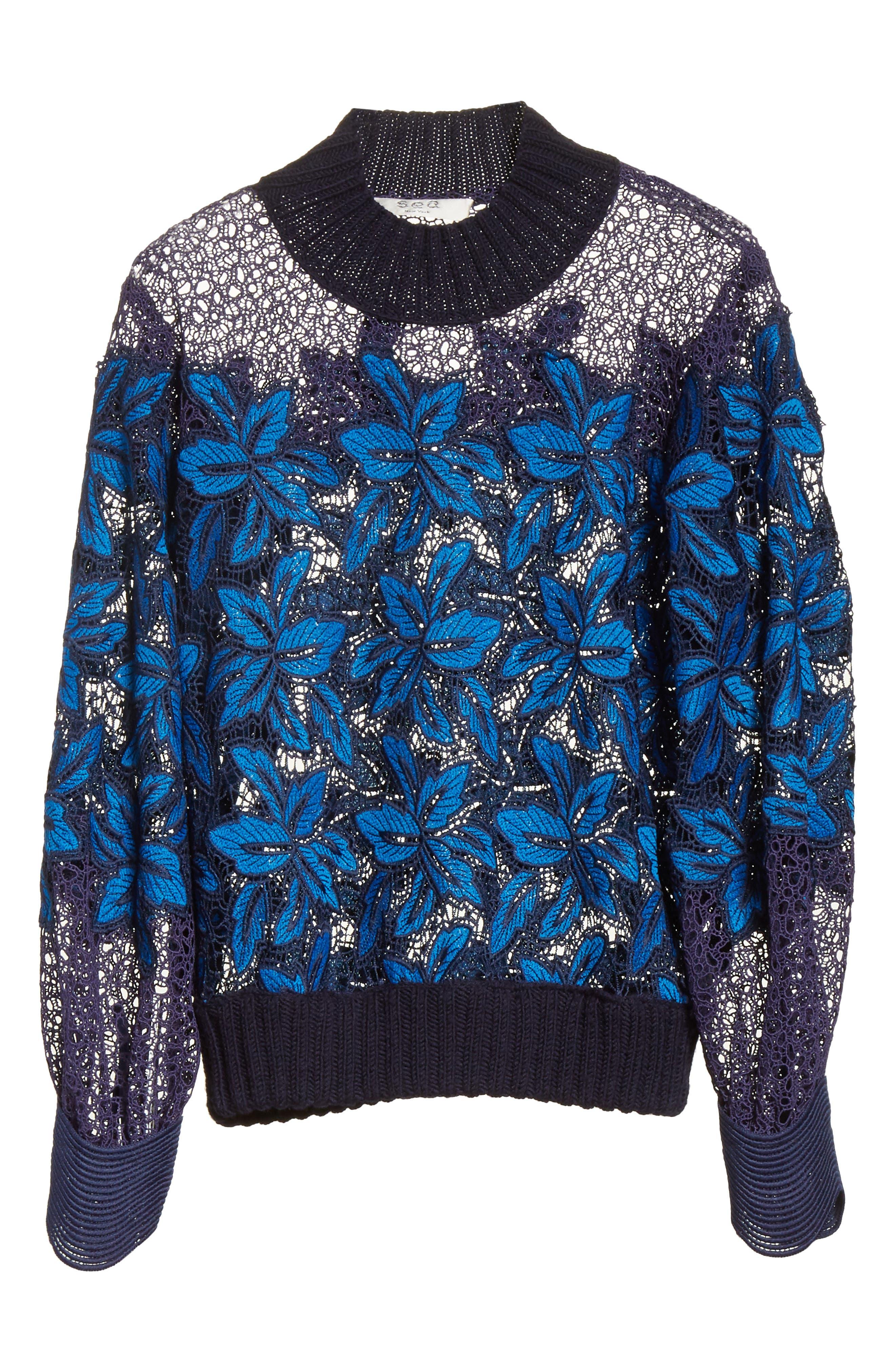 Mosaic Lace Bell Sleeve Sweatshirt,                             Alternate thumbnail 6, color,                             Blue Multi