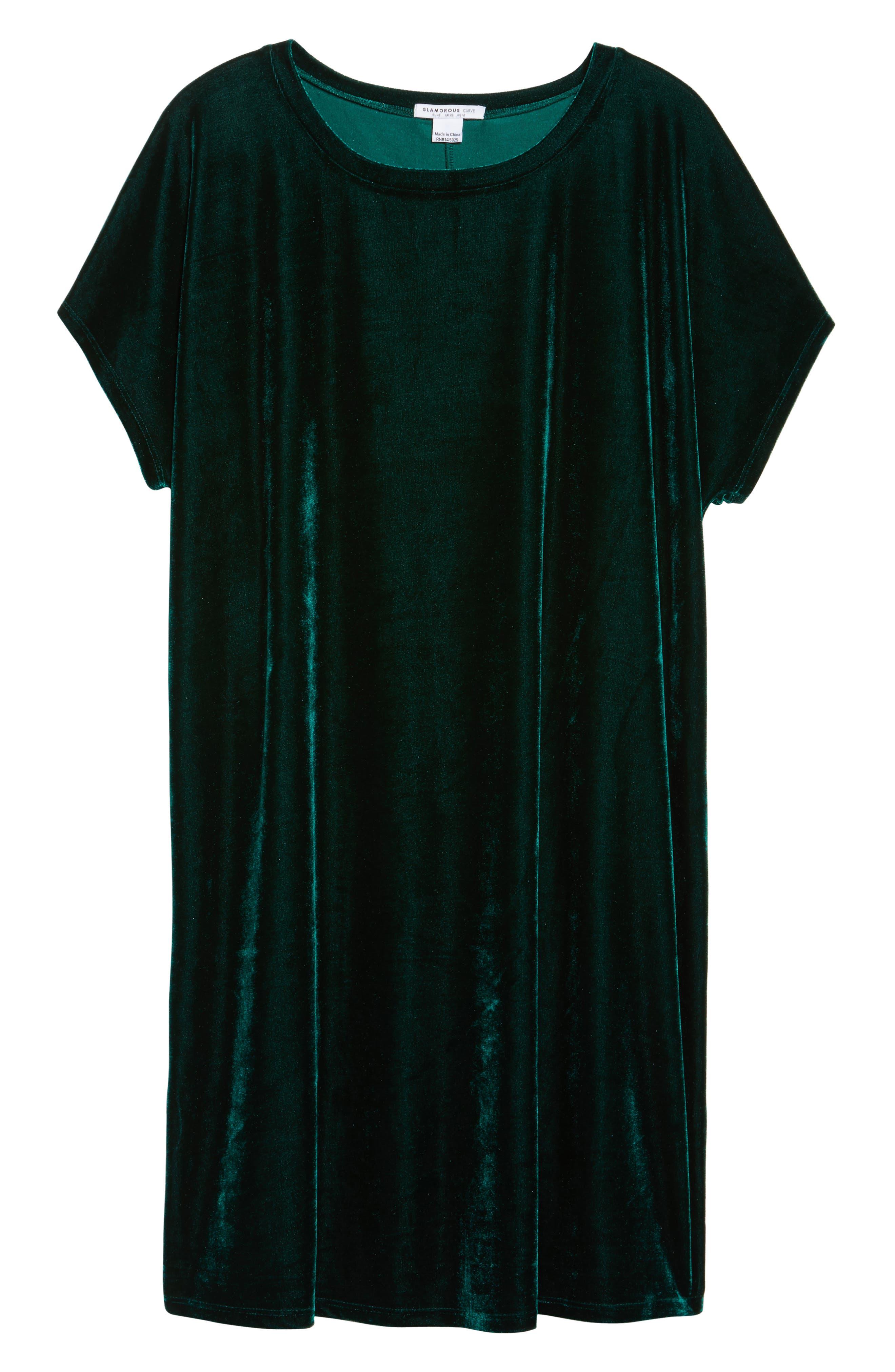 Velvet Shift Dress,                             Alternate thumbnail 6, color,                             Pine Green