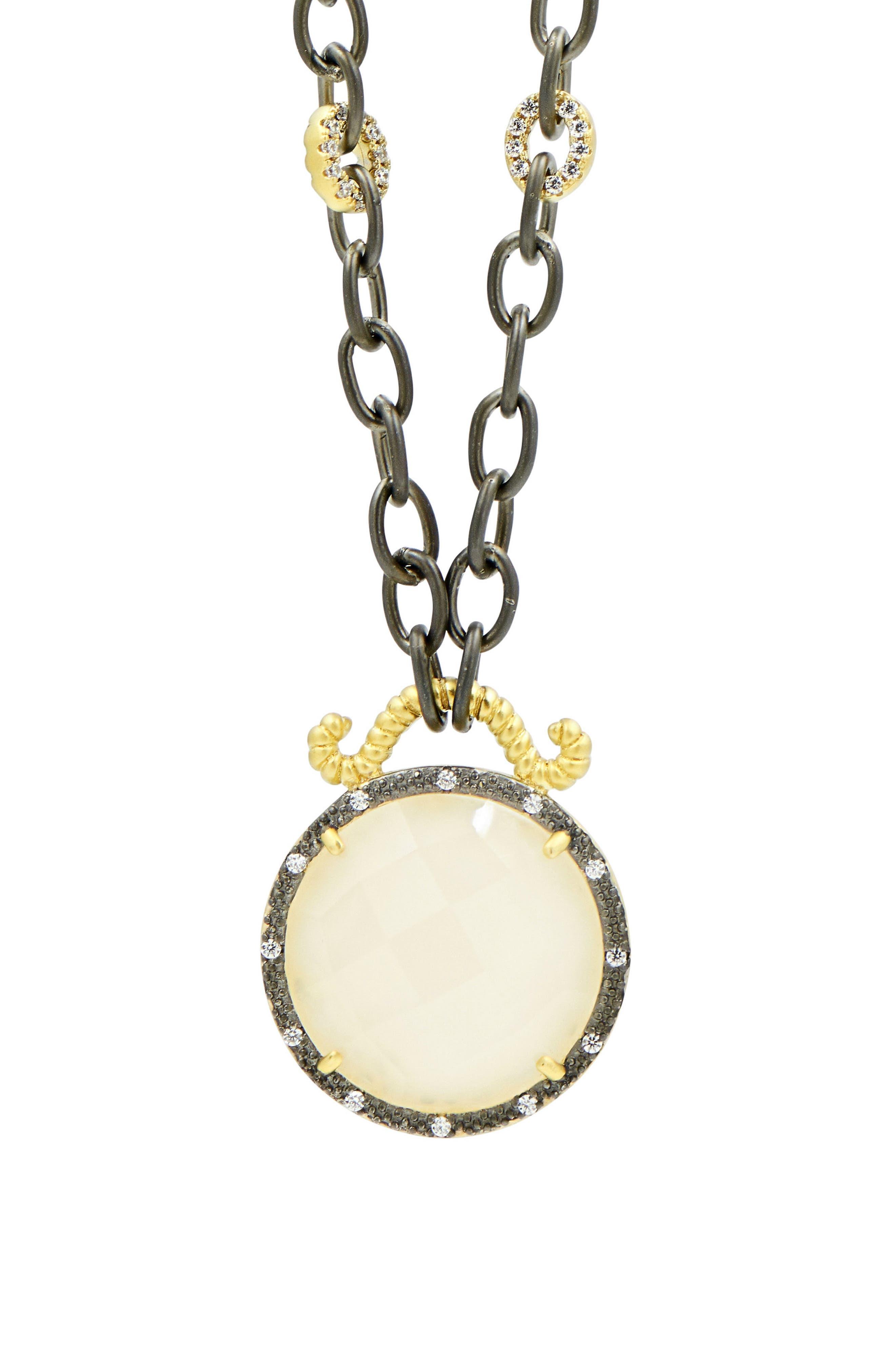 Gilded Cable Reversible Pendant Necklace,                             Alternate thumbnail 7, color,                             Black/ Gold