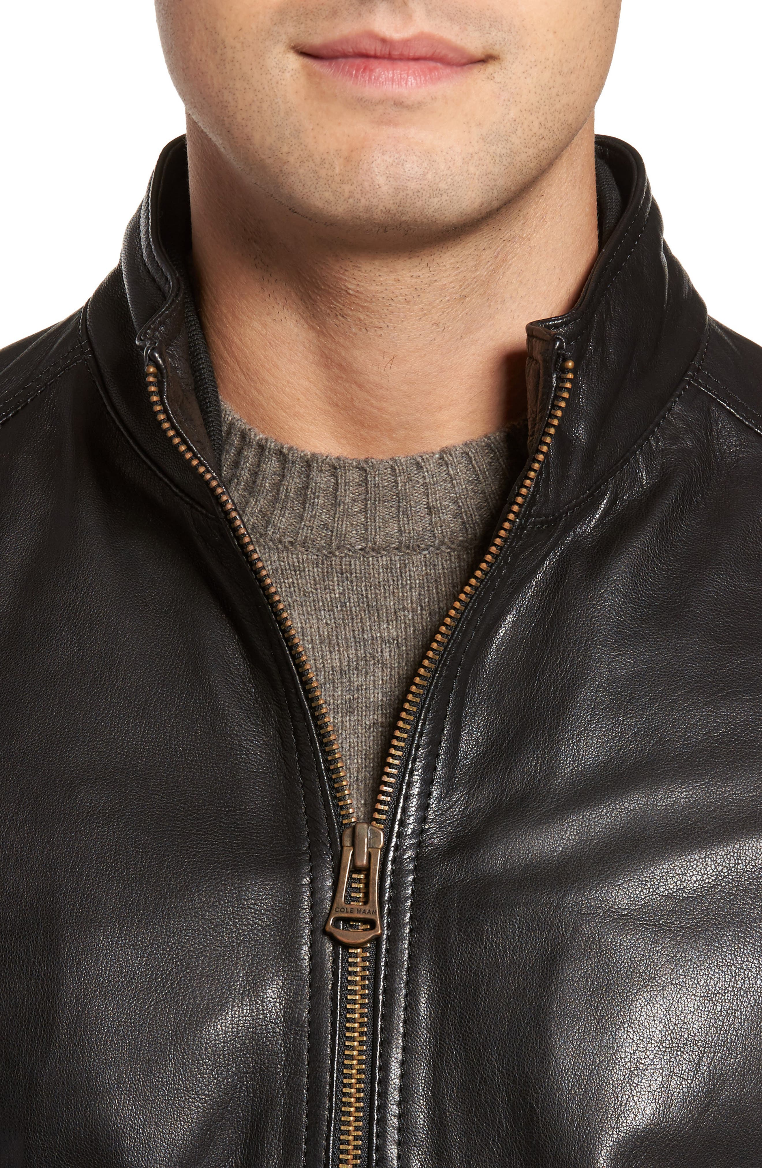 Alternate Image 4  - Cole Haan Washed Leather Jacket