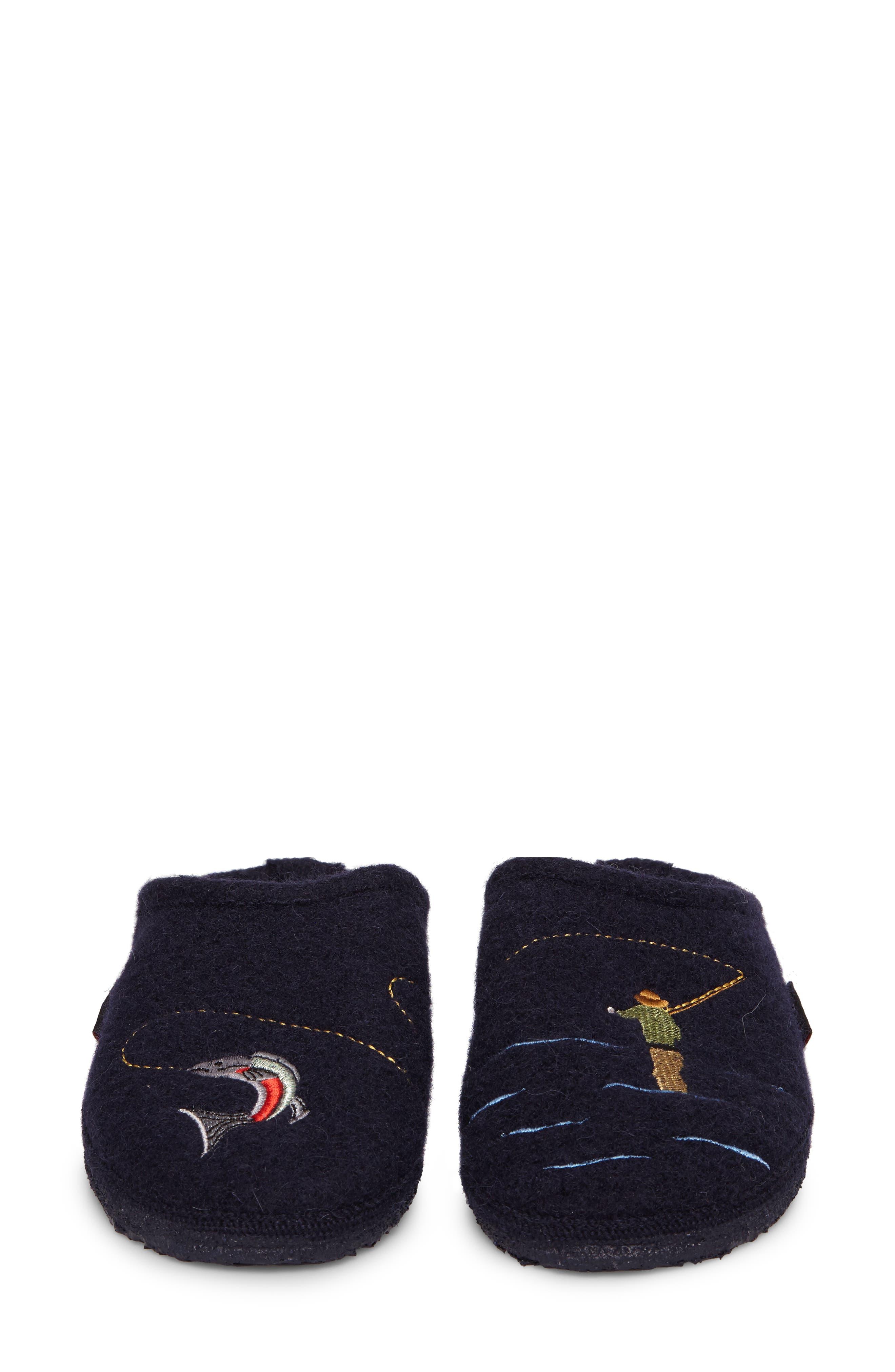 Riffle Wool Slipper,                             Alternate thumbnail 4, color,                             Ocean Wool