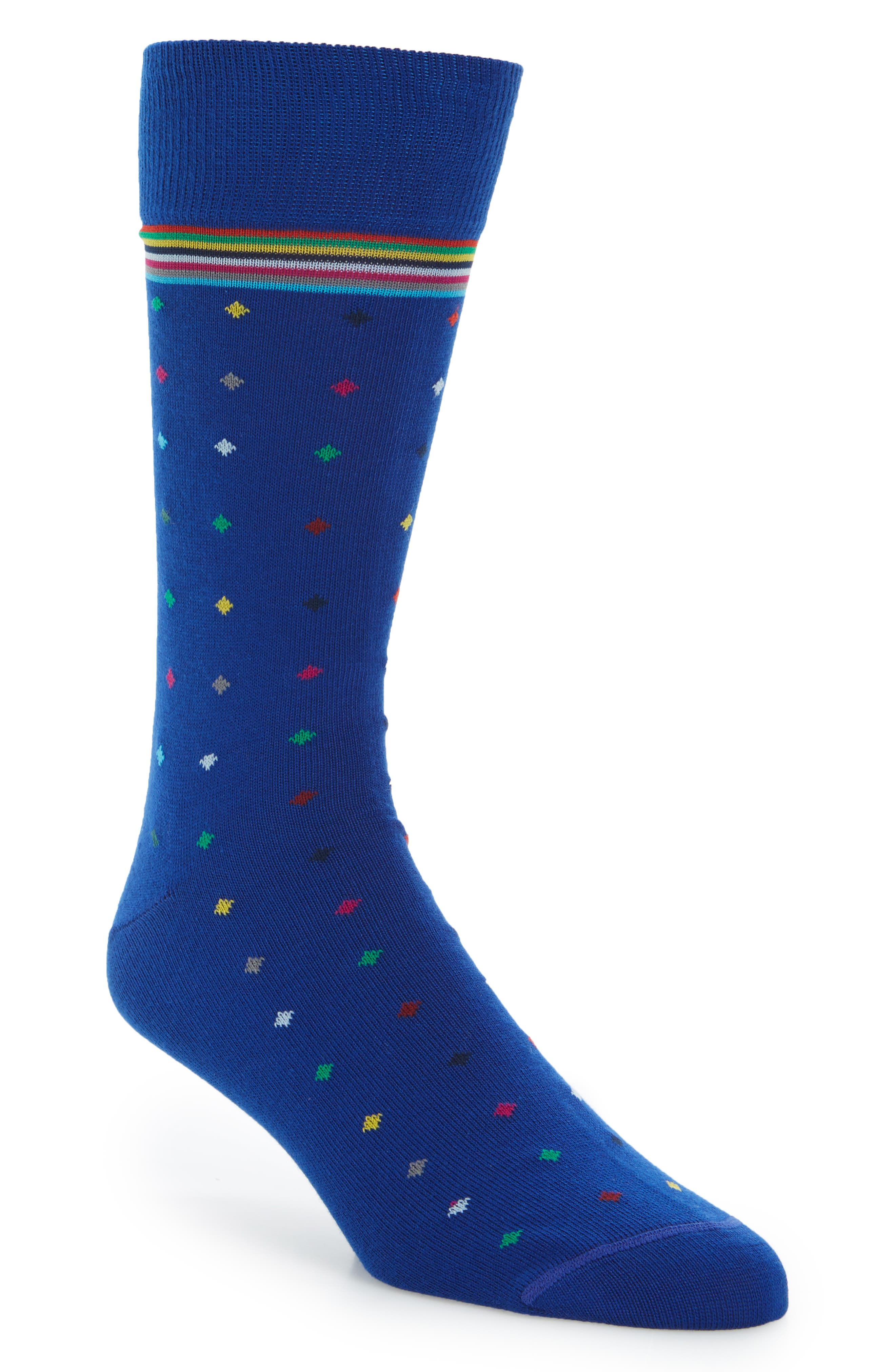 Diamond Stripe Socks,                         Main,                         color, Blue