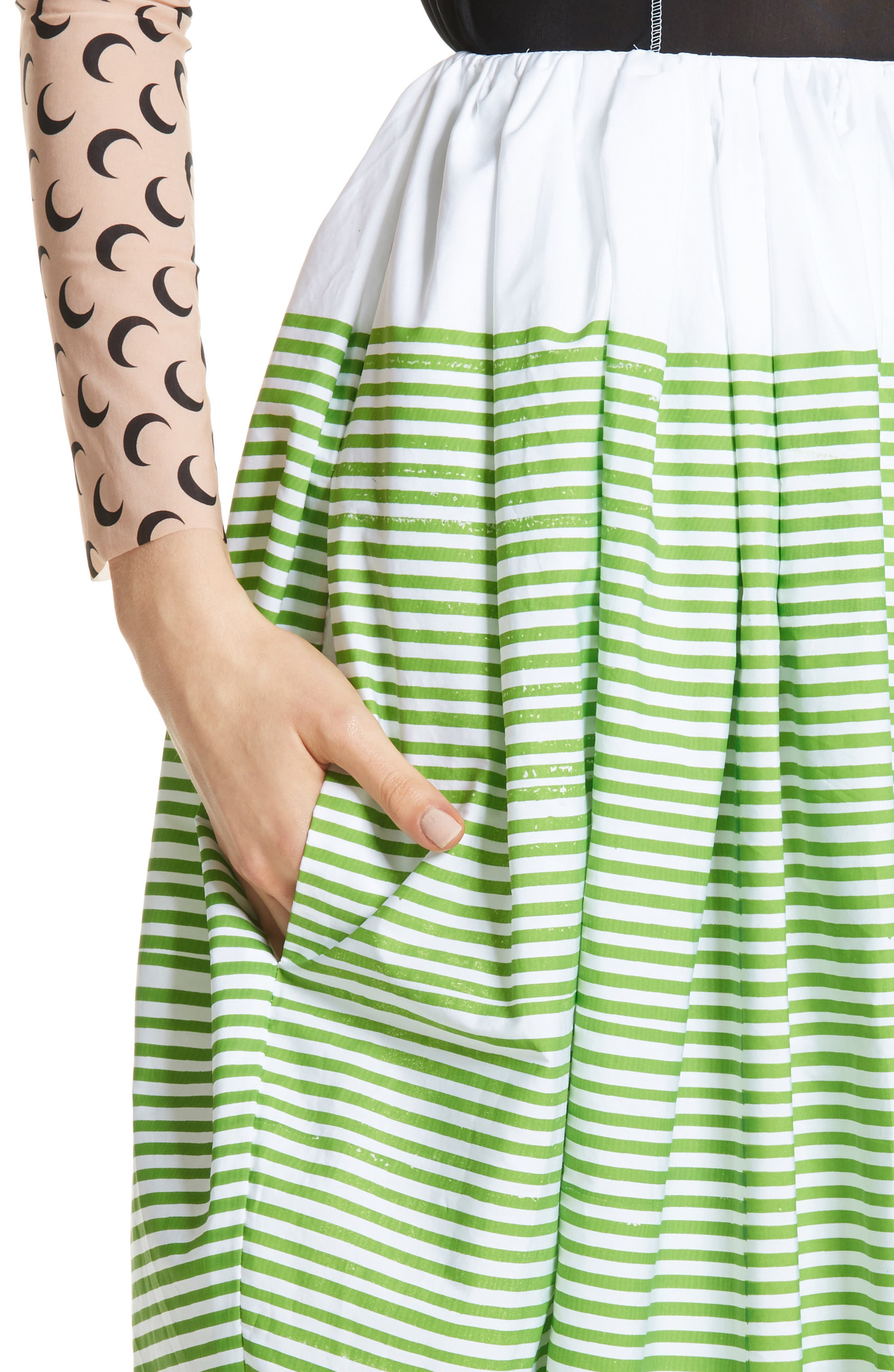 Stripe Ball Skirt,                             Alternate thumbnail 4, color,                             Green Striped