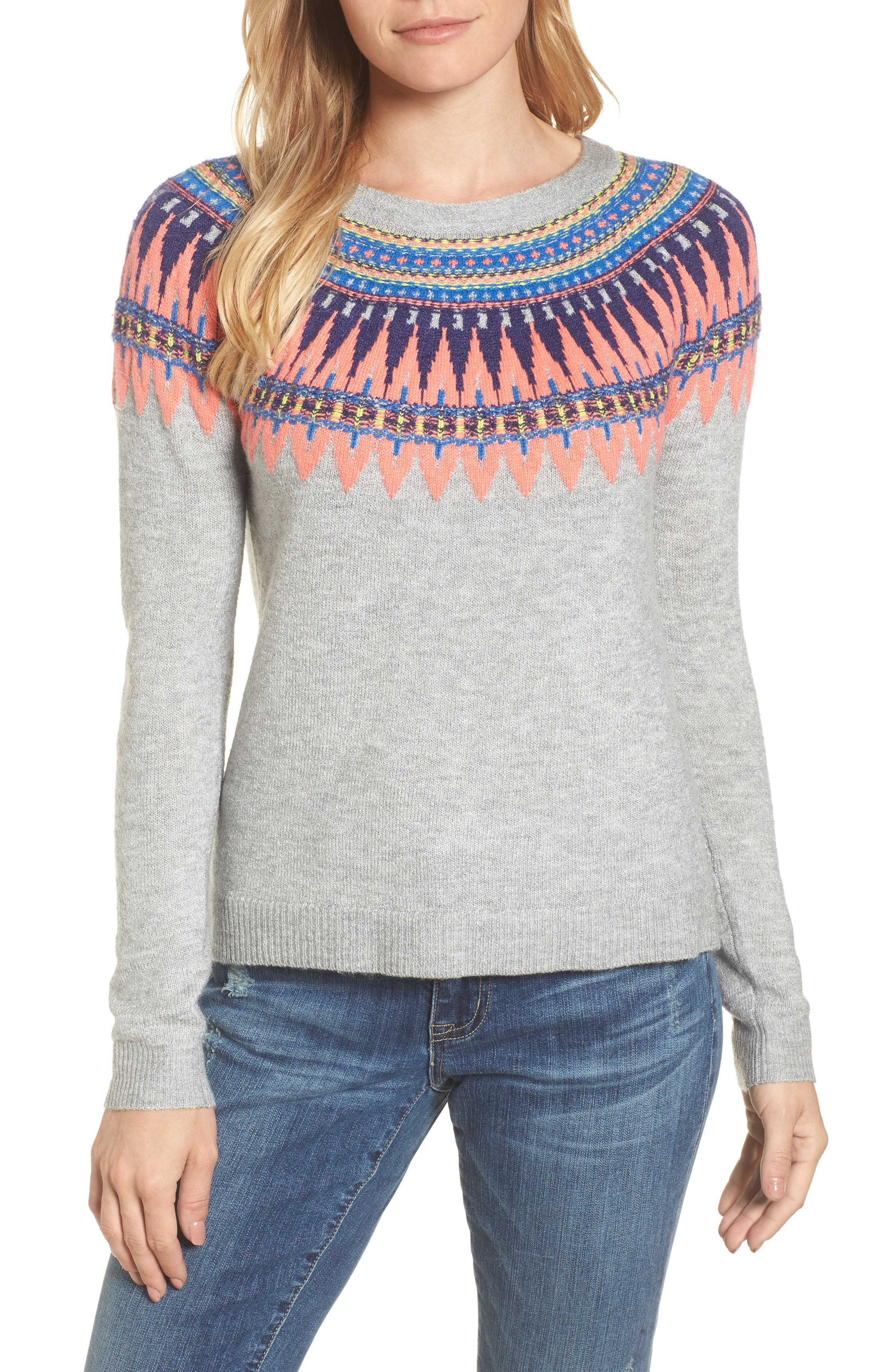 Tie Back Patterned Sweater,                         Main,                         color, Grey- Pink Pattern