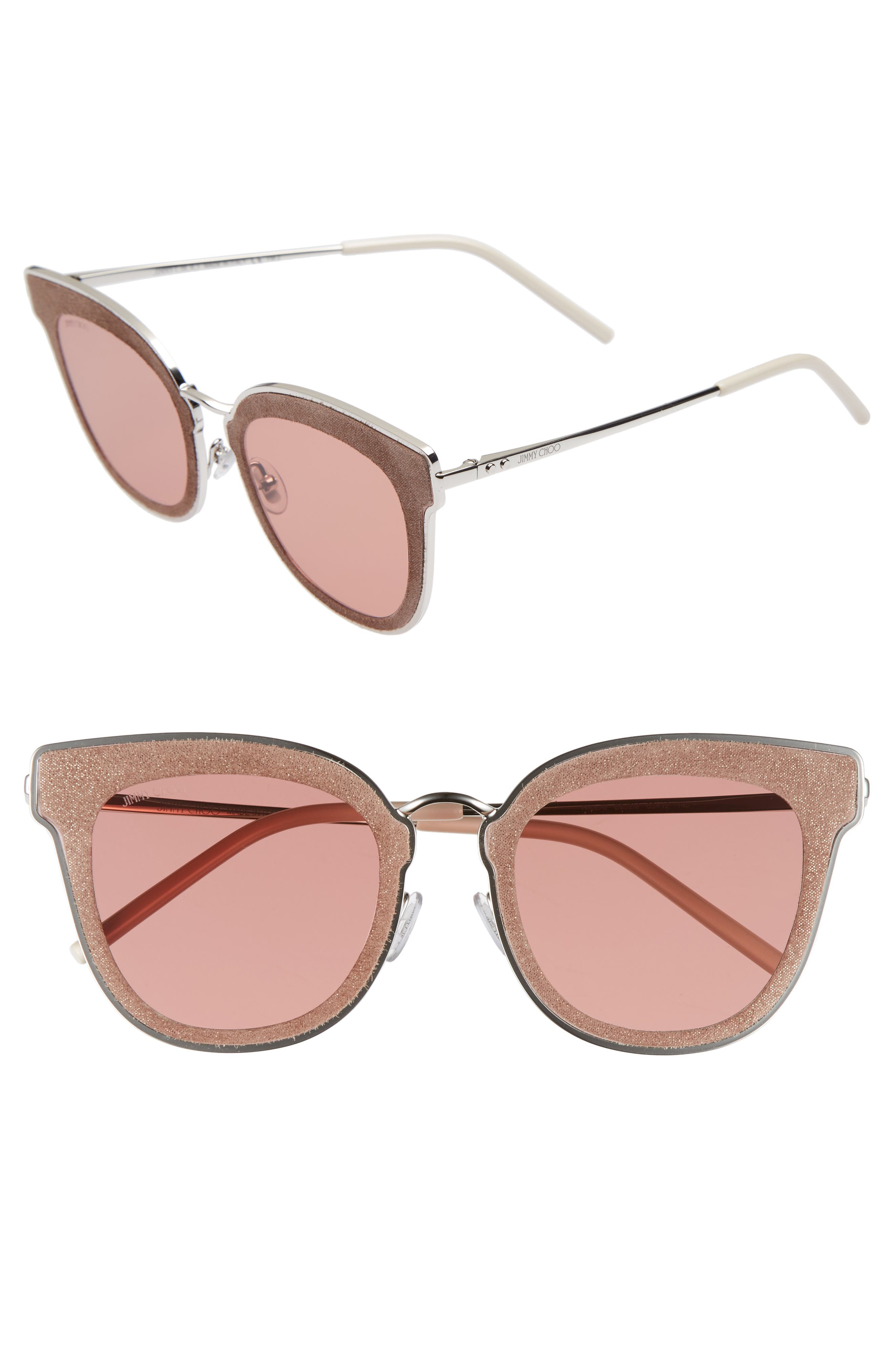 Niles 63mm Oversize Cat Eye Sunglasses,                             Main thumbnail 1, color,                             Silver Beige