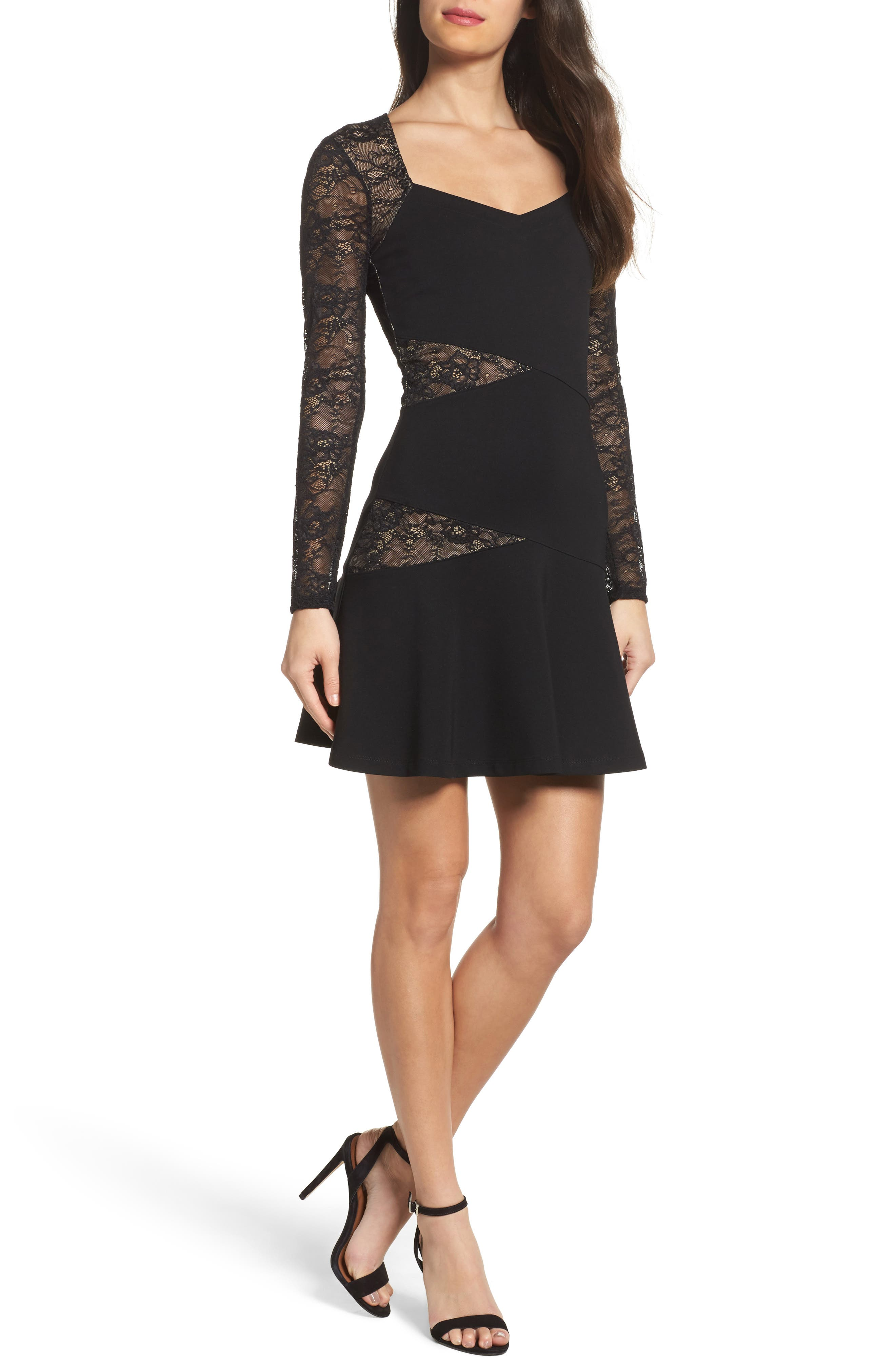 L'Arc Ponte Knit Fit & Flare Dress,                             Main thumbnail 1, color,                             Black