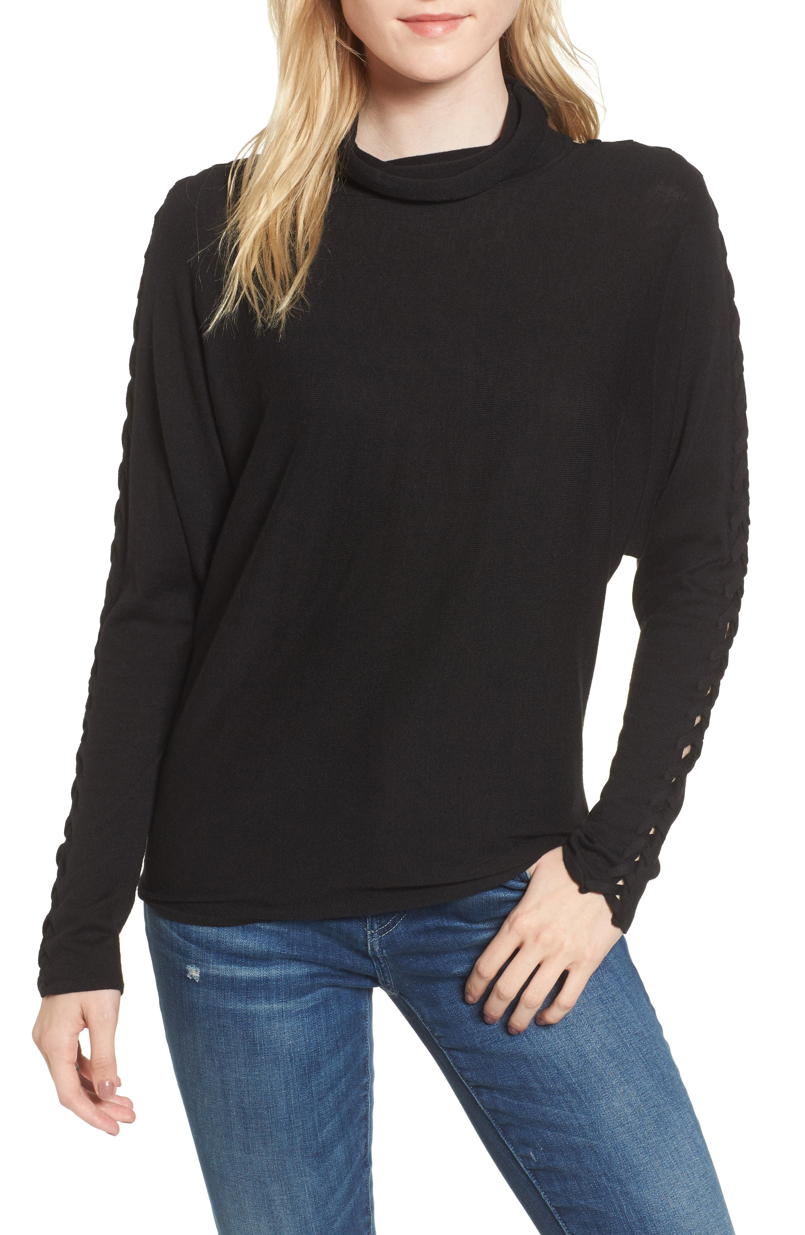 Victoire Turtleneck Sweater,                         Main,                         color, Black