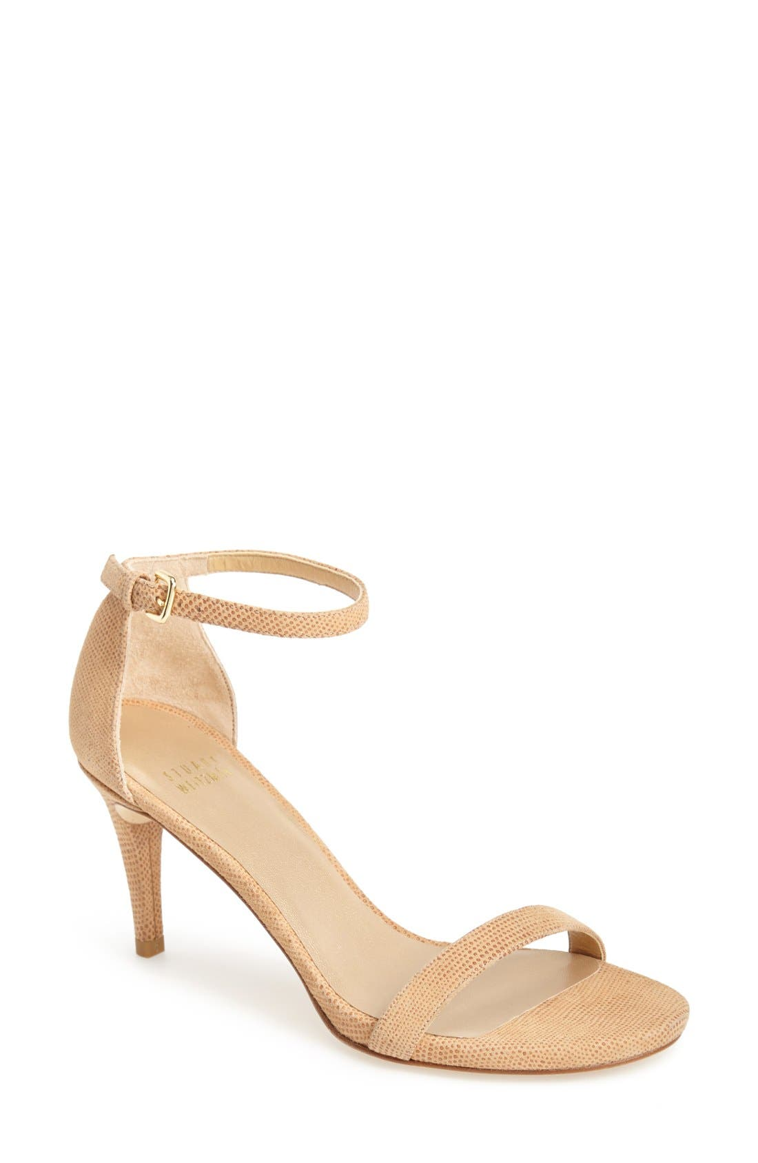 Alternate Image 1 Selected - Stuart Weitzman 'Nunaked' Leather Ankle Strap Sandal (Women)