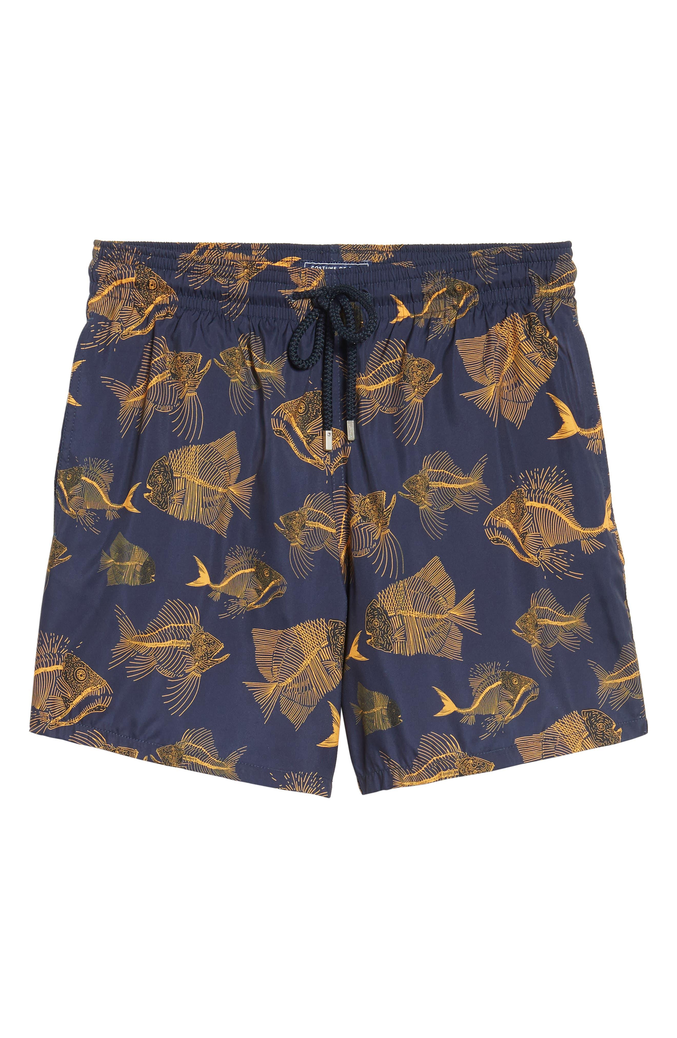 Prehistoric Fish Swim Trunks,                             Alternate thumbnail 6, color,                             Navy