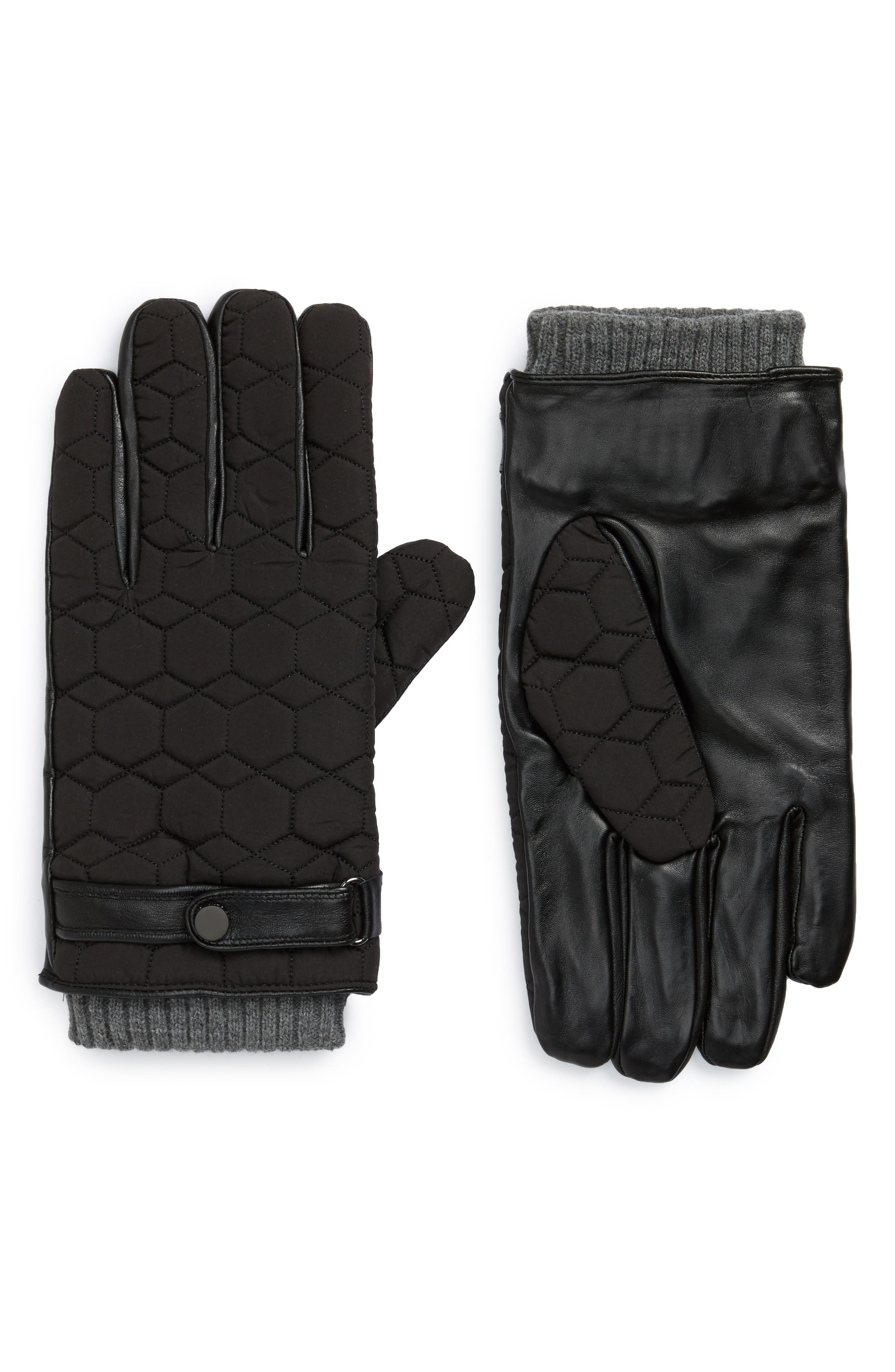 Mens leather gloves xl - Ted Baker London Modcut Quilted Glove