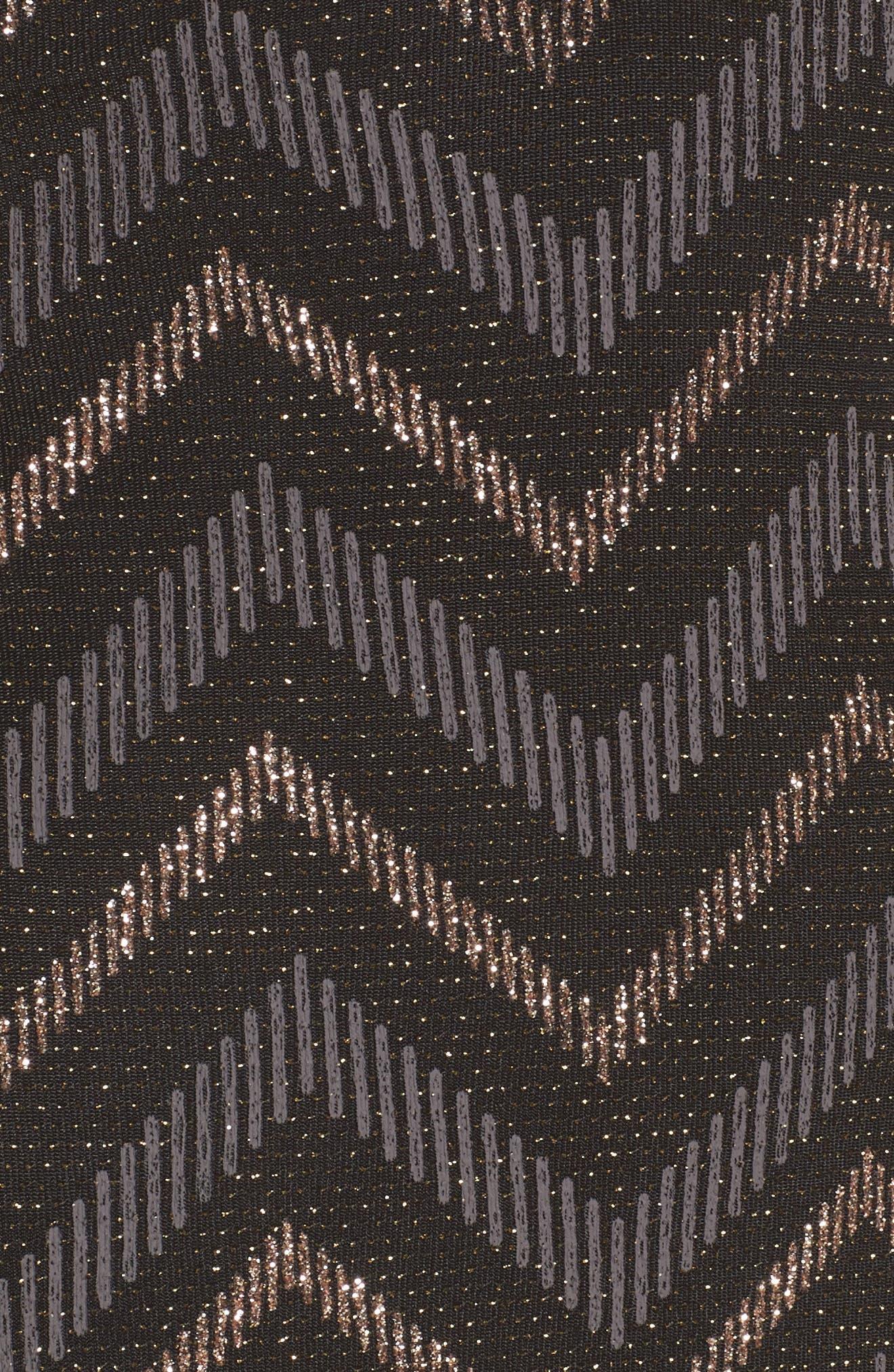 Love Nickie Lew Metallic Chevron Stripe Midi Dress,                             Alternate thumbnail 5, color,                             Black/ Copper