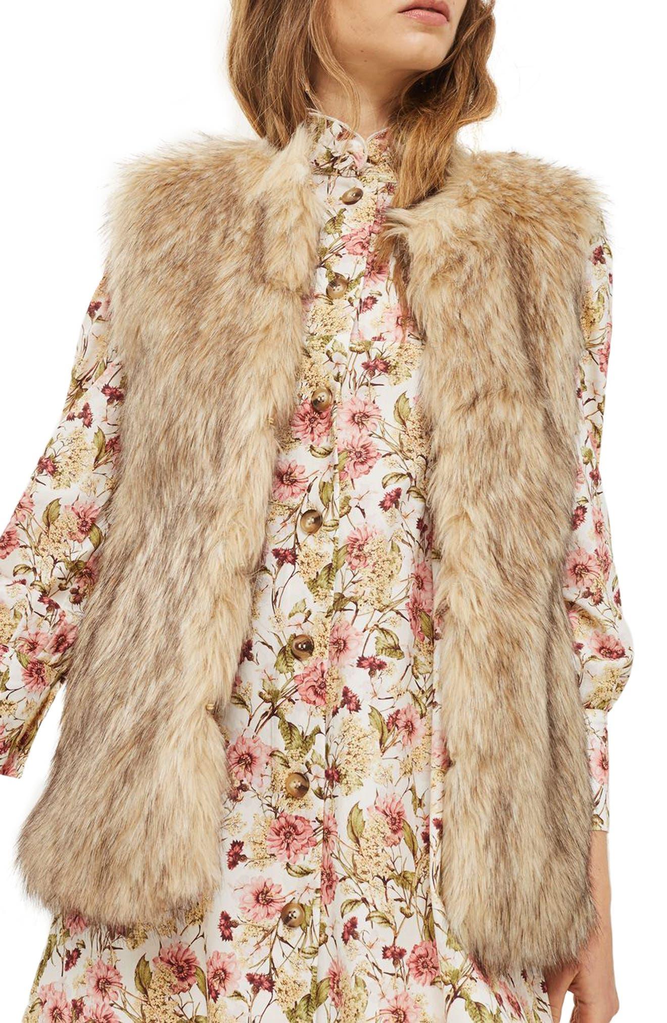 Faux Fur Vest,                         Main,                         color, Brown