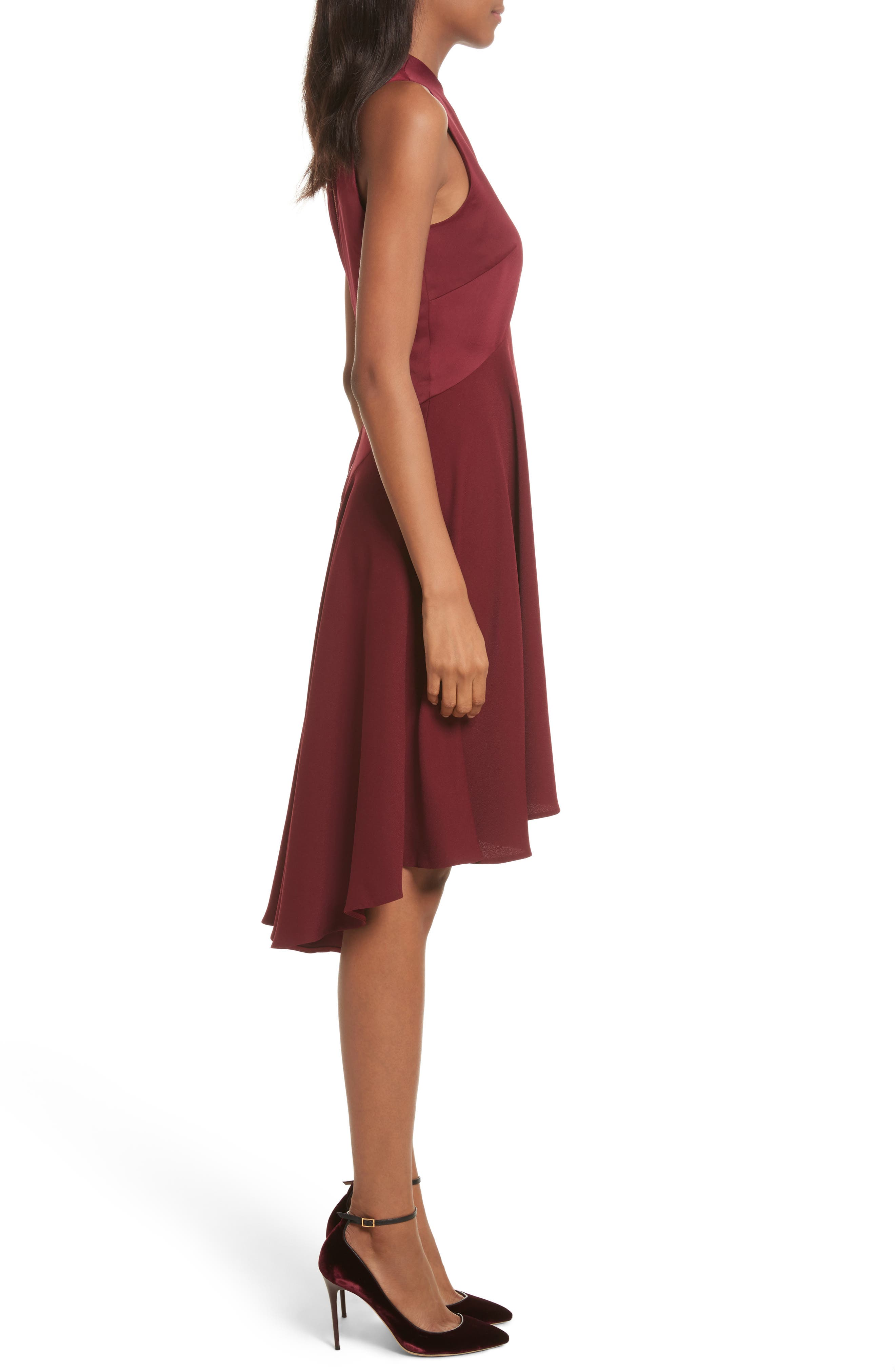 Mock Neck Fit & Flare Dress,                             Alternate thumbnail 3, color,                             Maroon