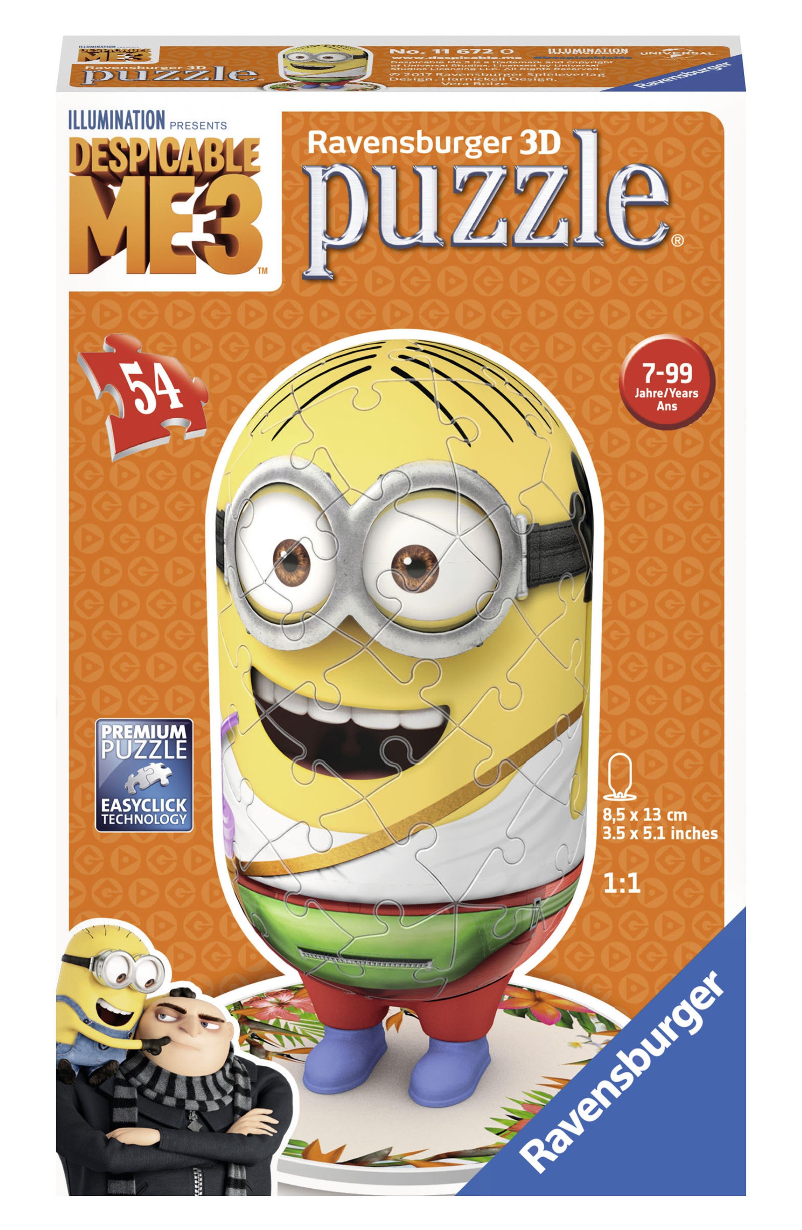 54-Piece Despicable Me 3 Minion 3D Puzzle,                         Main,                         color, Yellow