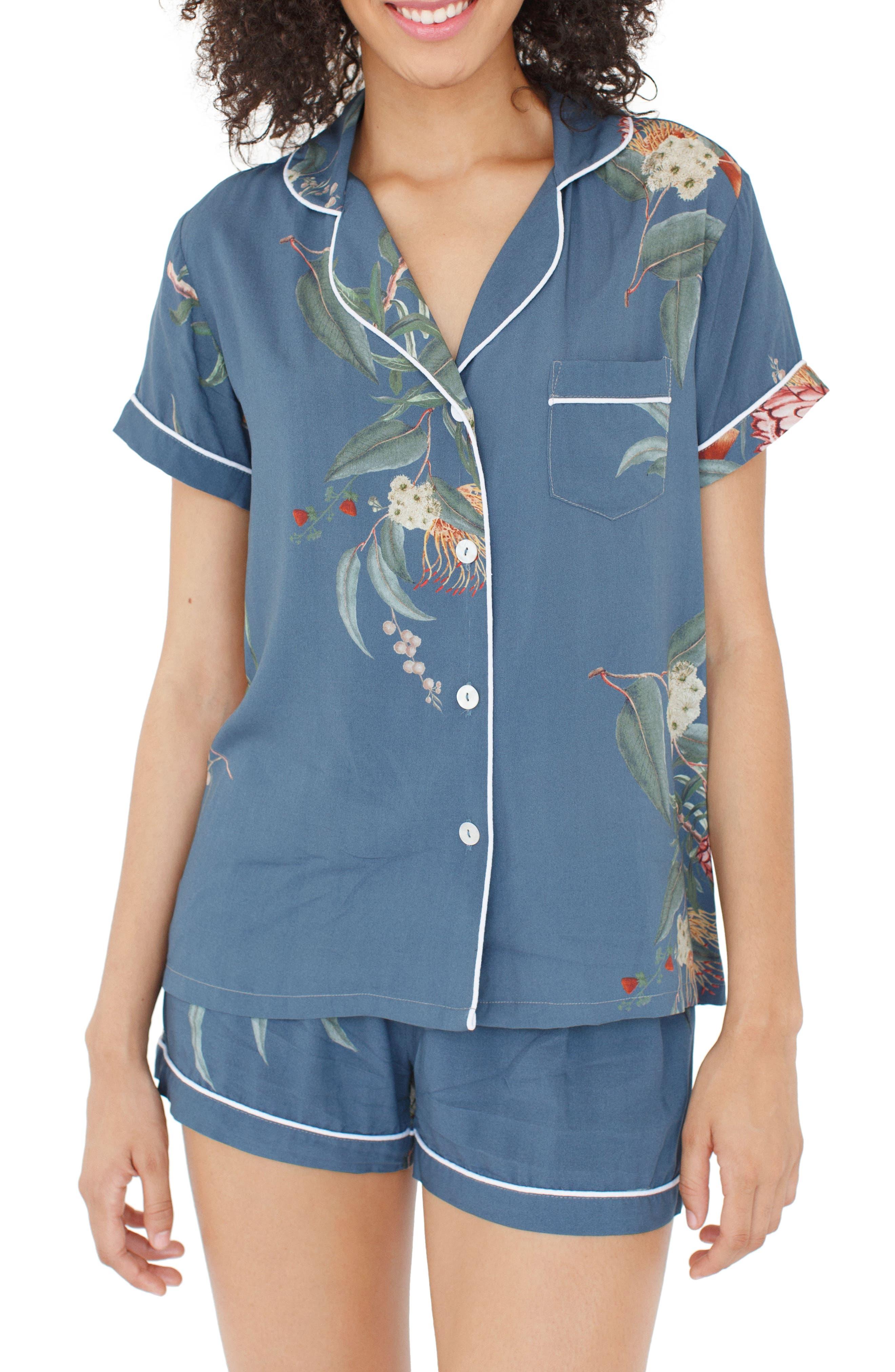 Floral Short Pajamas,                             Main thumbnail 1, color,                             Jupiter