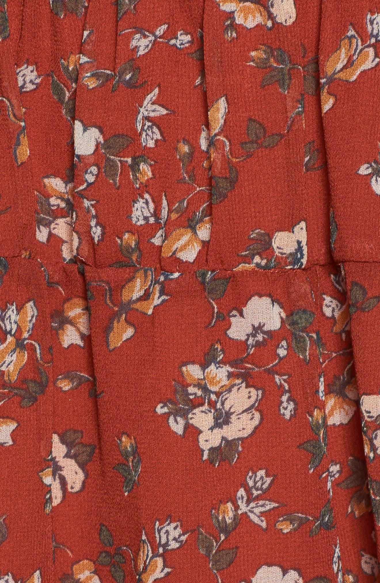 Le Marais Floral Print Dress,                             Alternate thumbnail 5, color,                             Rust