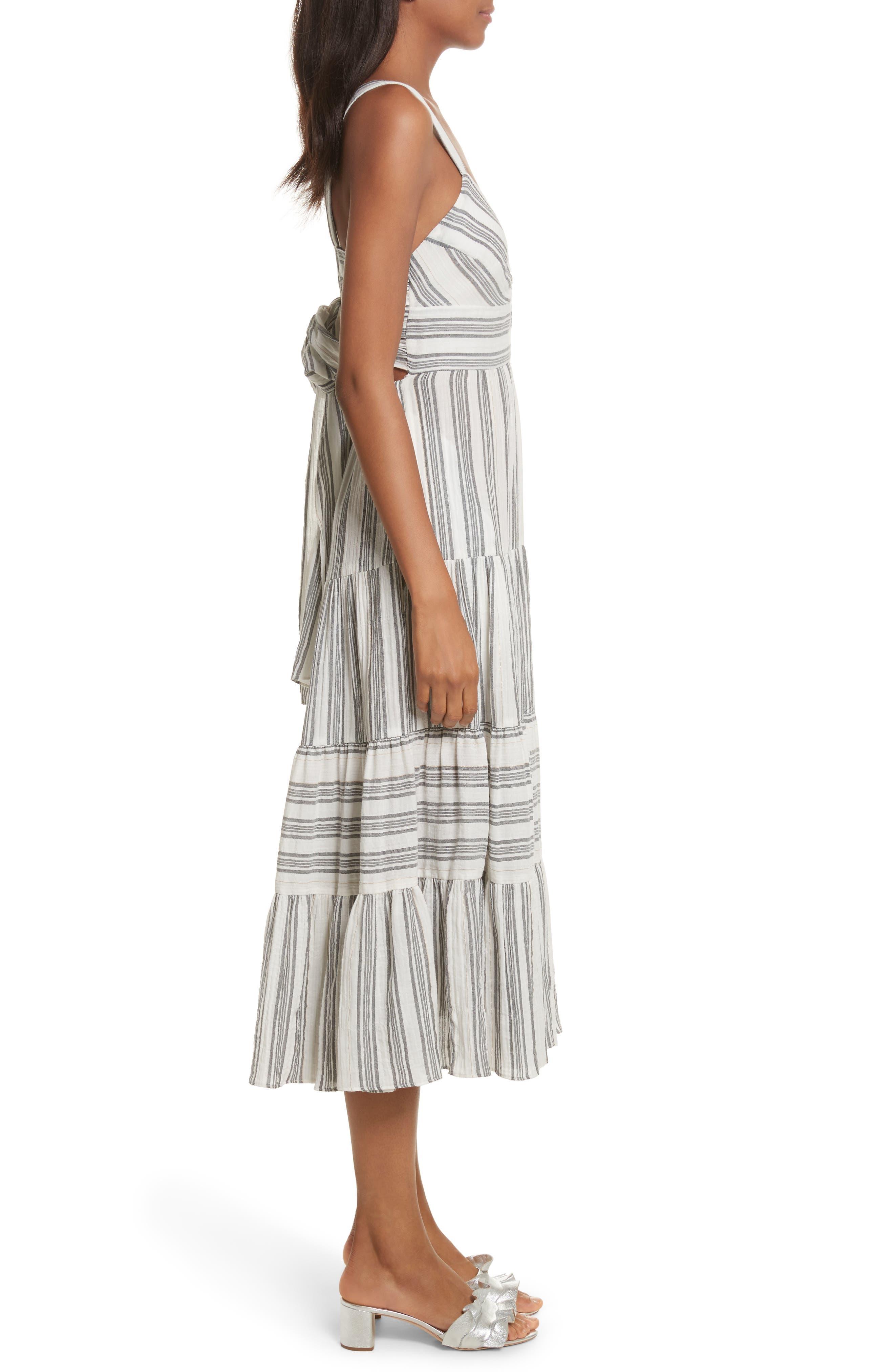 Sleeveless Gauzy Stripe Dress,                             Alternate thumbnail 3, color,                             Milk/ Washed Black Combo