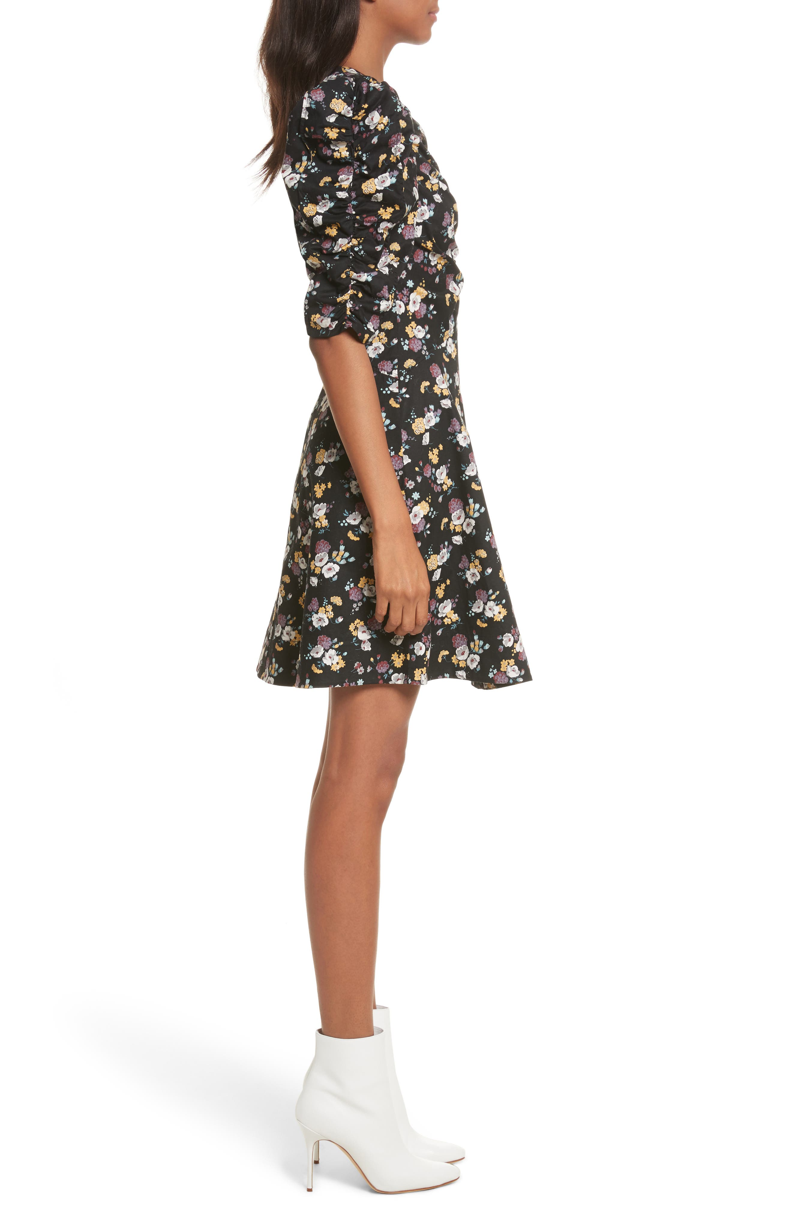 Winter Posey Fit & Flare Dress,                             Alternate thumbnail 3, color,                             Black Combo