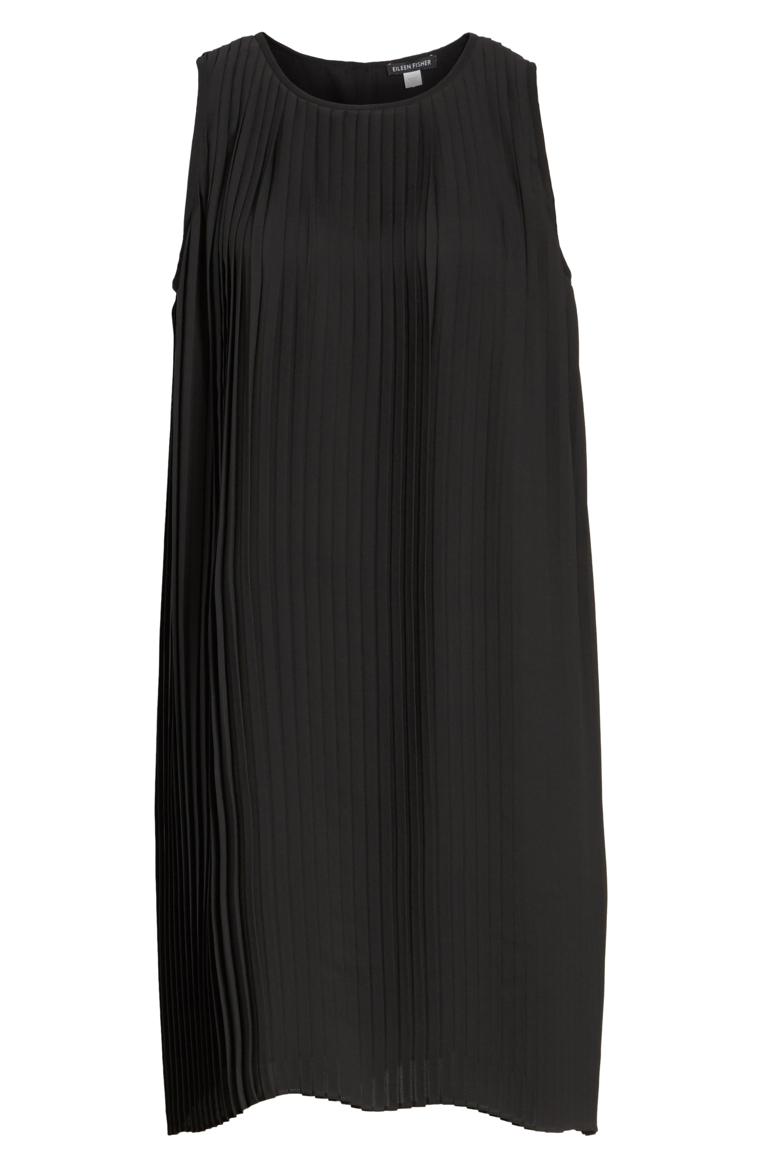 Pleated Shift Dress,                             Alternate thumbnail 6, color,                             Black