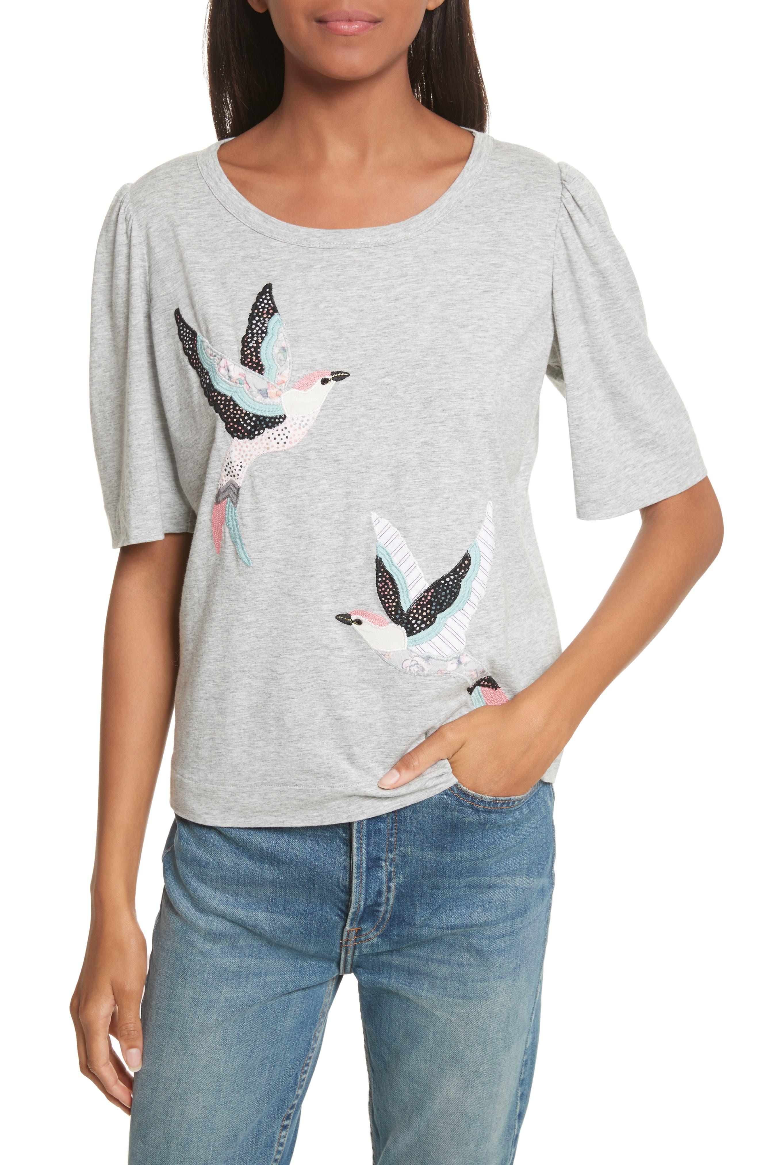 Bird Patch Jersey Top,                             Main thumbnail 1, color,                             Grey Heather