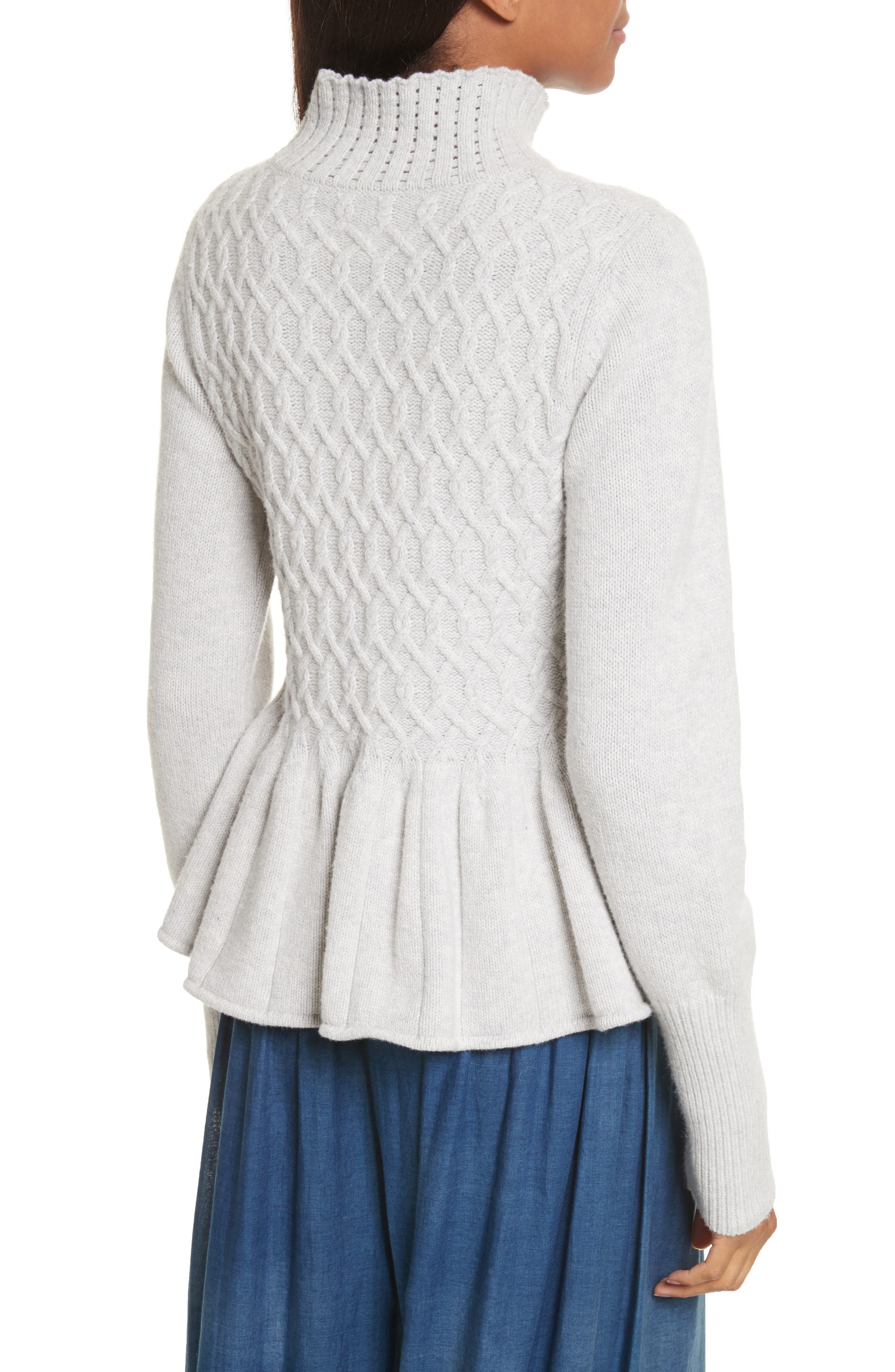 Braided Cable Mock Neck Pullover,                             Alternate thumbnail 2, color,                             Light Heather Grey
