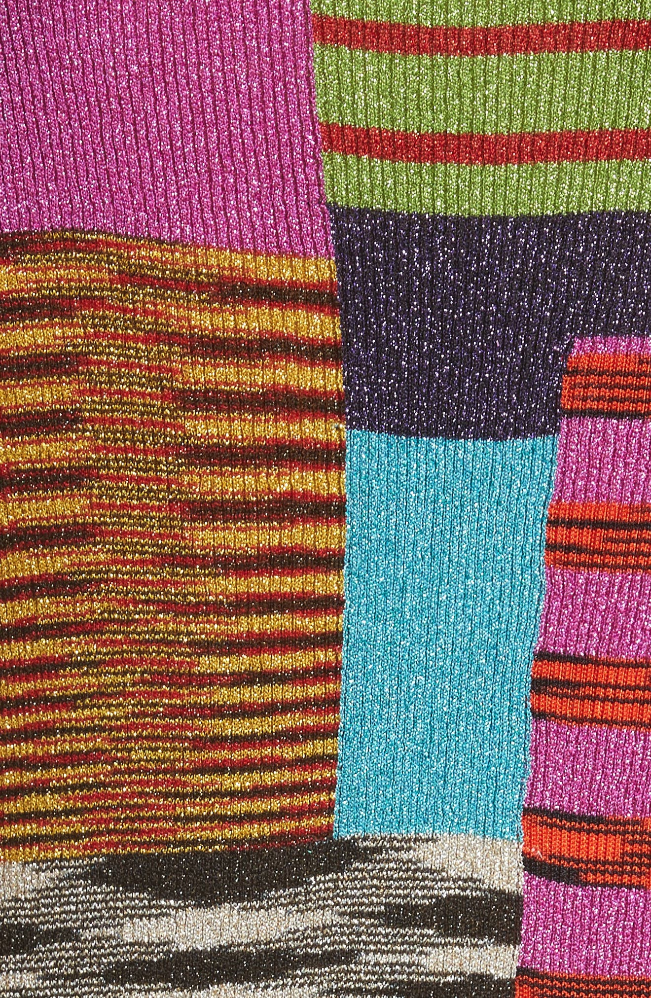 Metallic Patchwork Stripe Knit Dress,                             Alternate thumbnail 5, color,                             Multi
