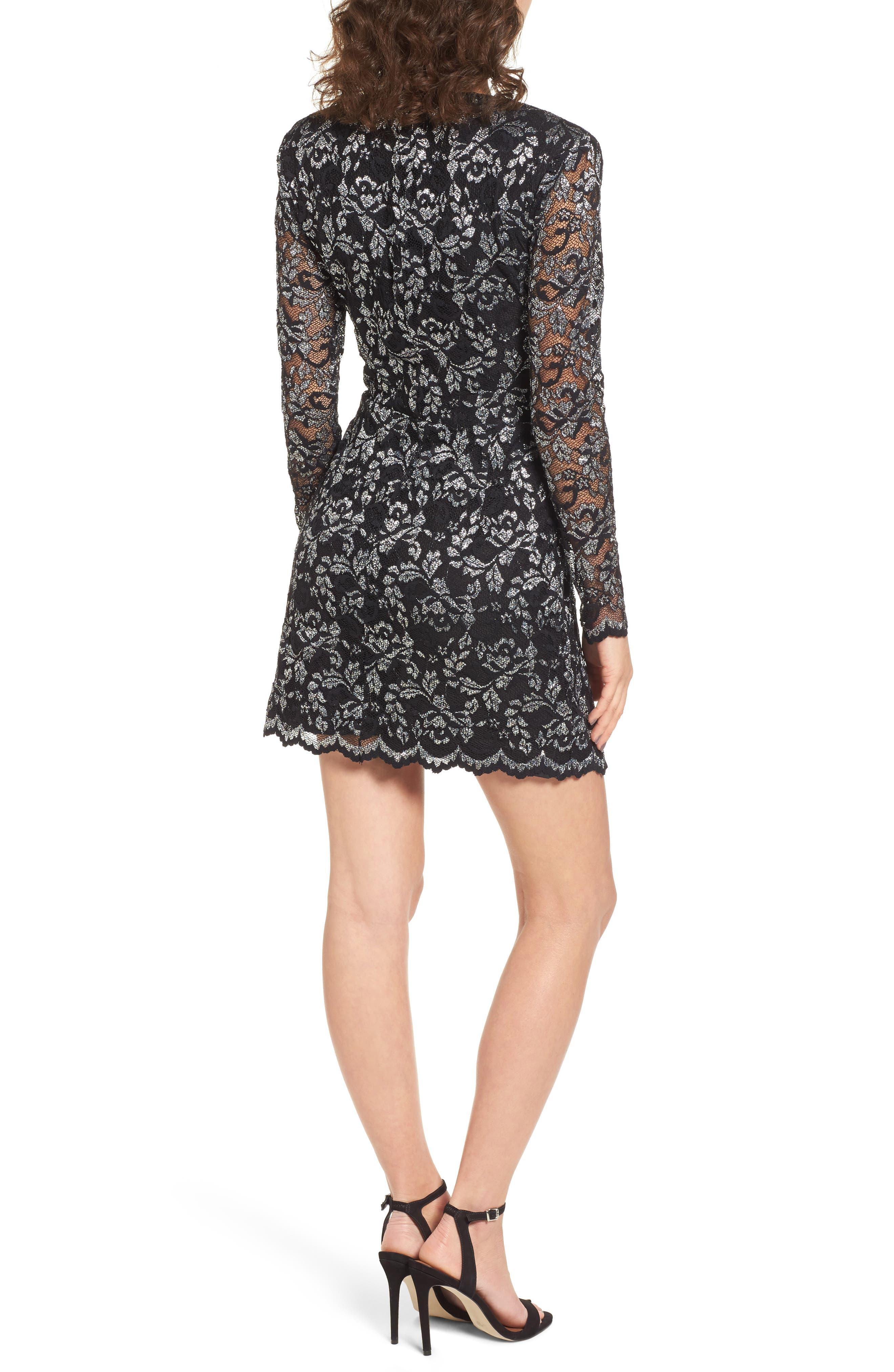 Laney Metallic Lace Wrap Dress,                             Alternate thumbnail 2, color,                             Black/ Silver