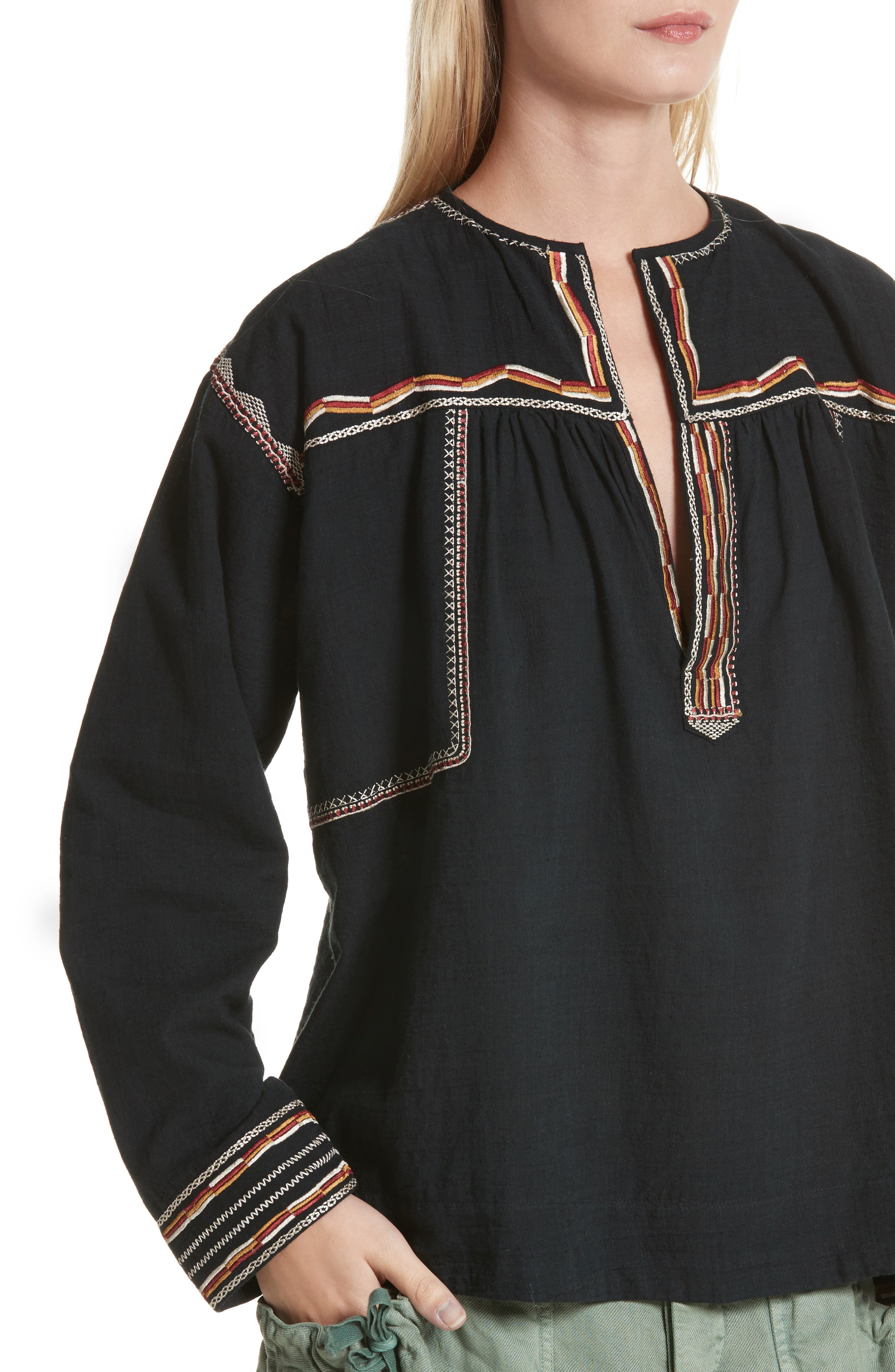 Isabel Marant Étoile Blicky Embroidered Top,                             Alternate thumbnail 4, color,                             Black