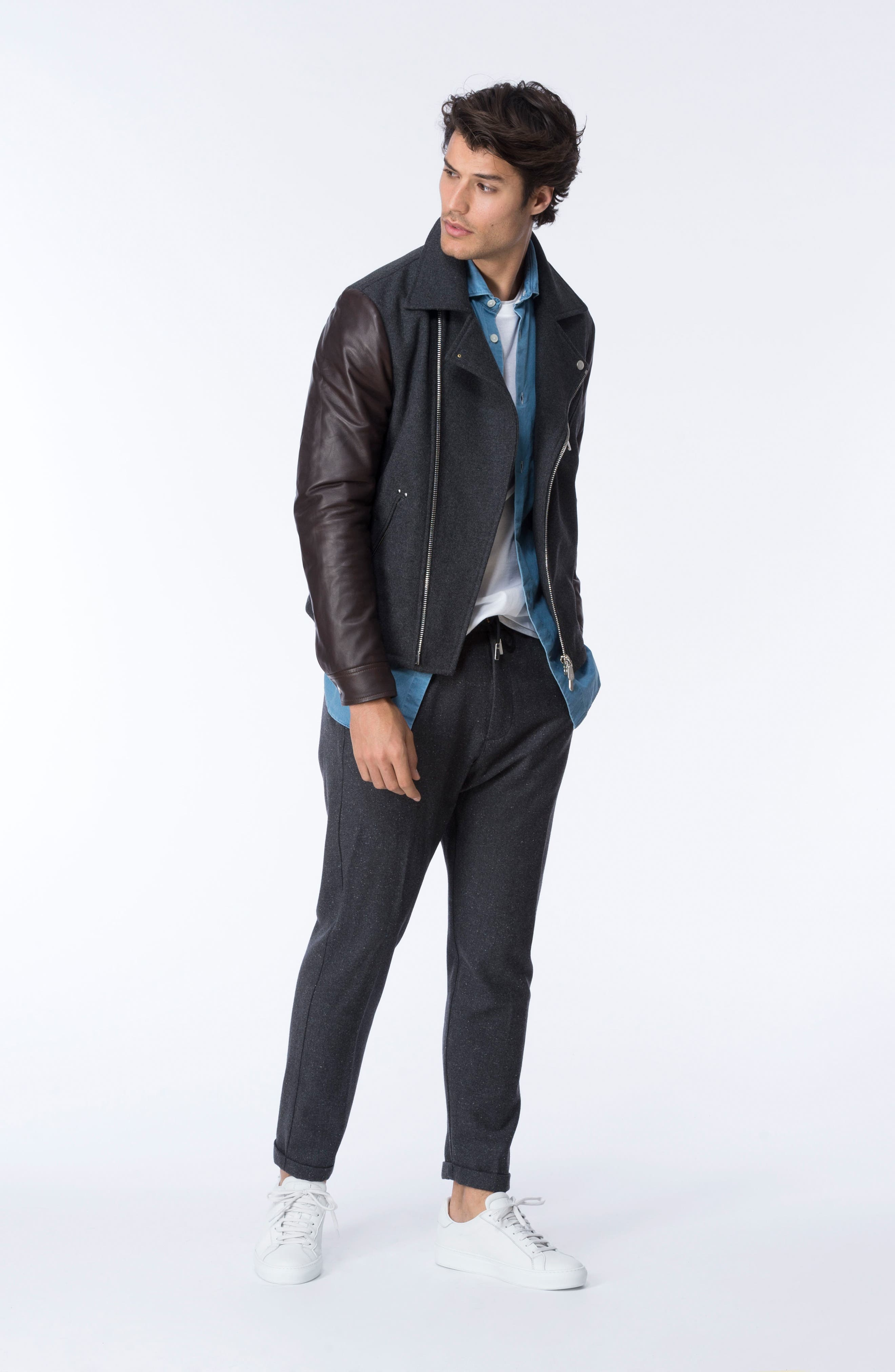 Leather & Flannel Moto Jacket,                             Alternate thumbnail 7, color,                             Charcoal/ Brown