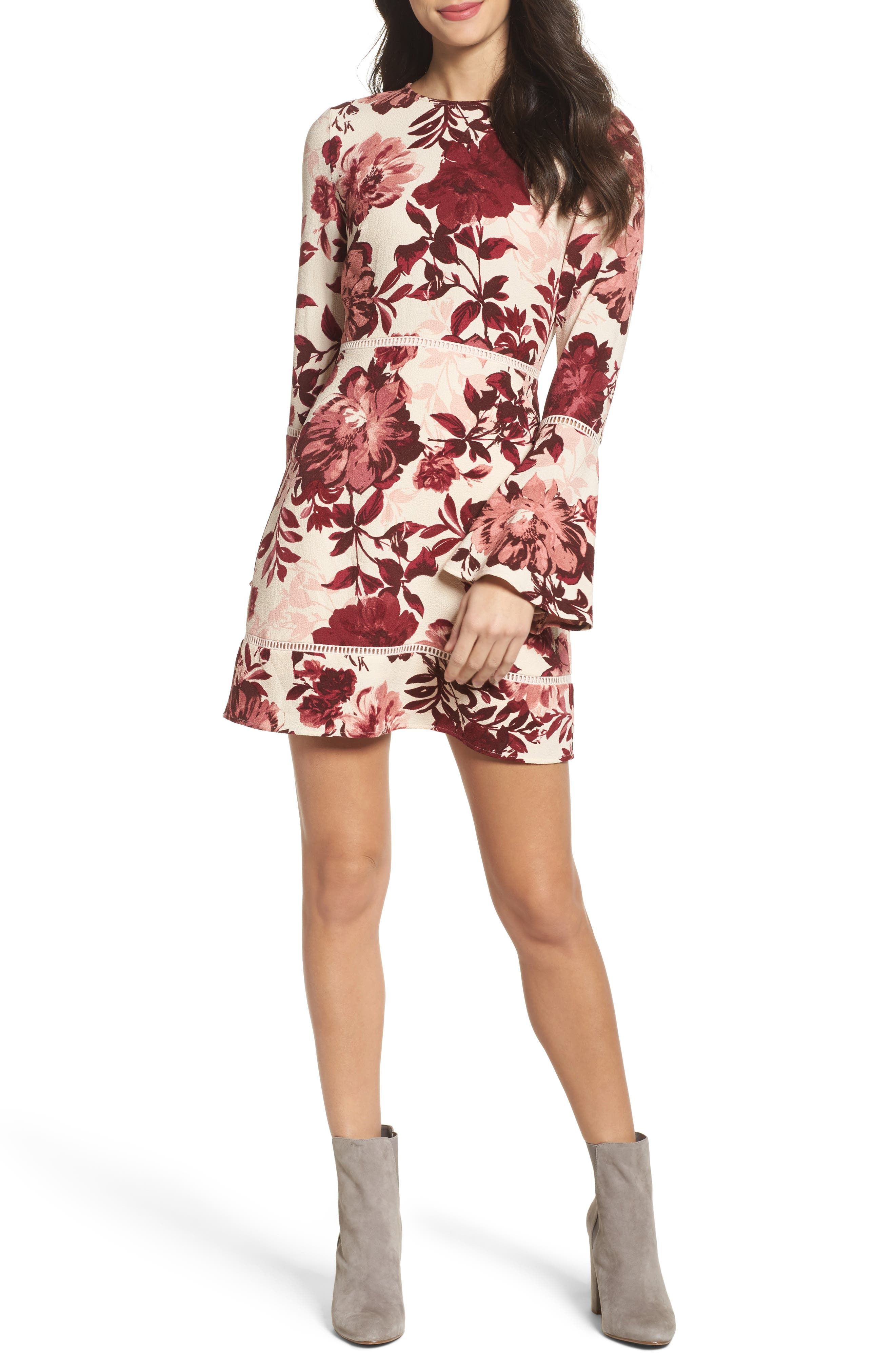 Bell Sleeve Minidress,                             Main thumbnail 1, color,                             Blush/ Burgundy Floral