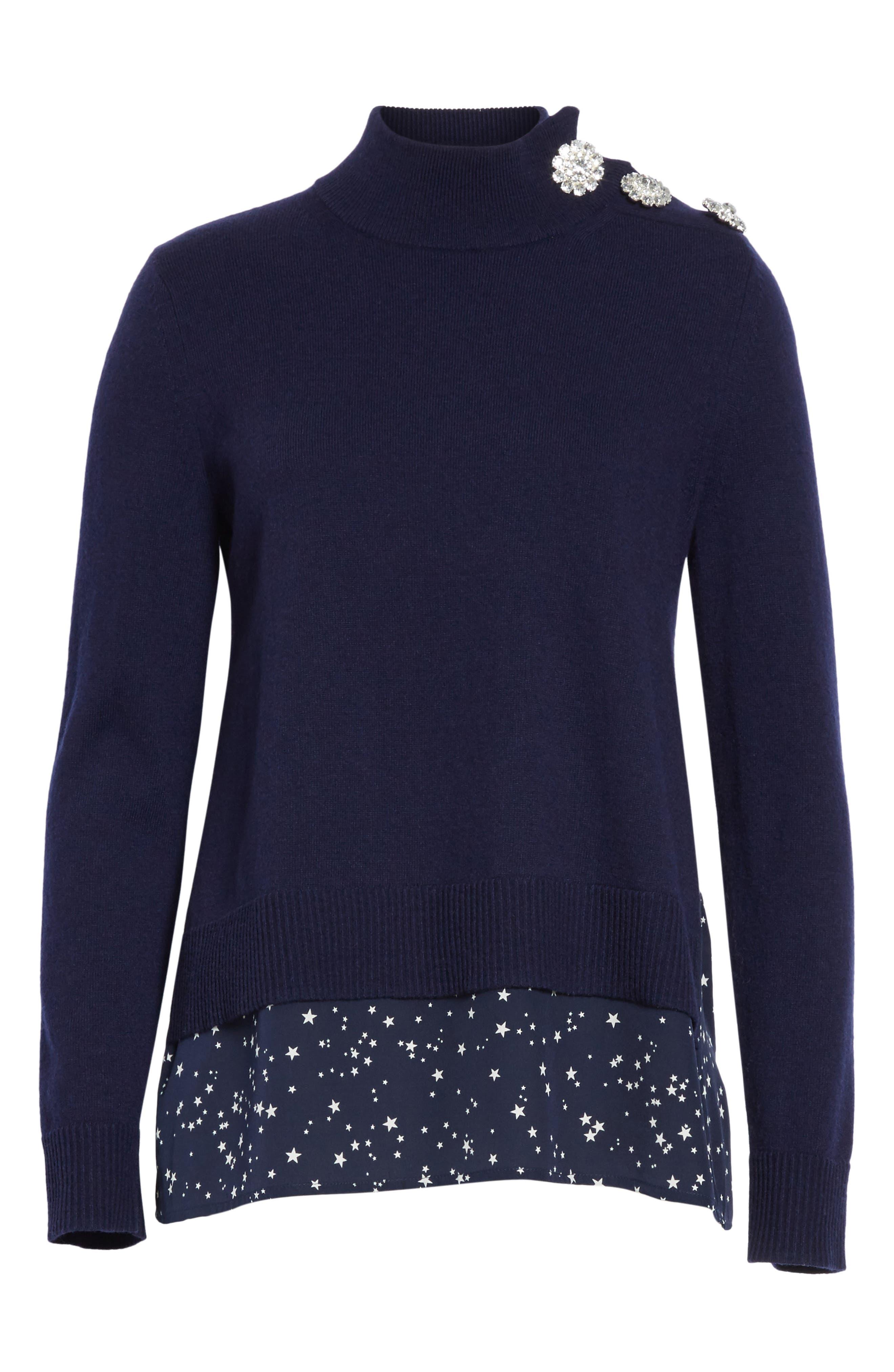 night sky mixed media sweater,                             Alternate thumbnail 6, color,                             Rich Navy