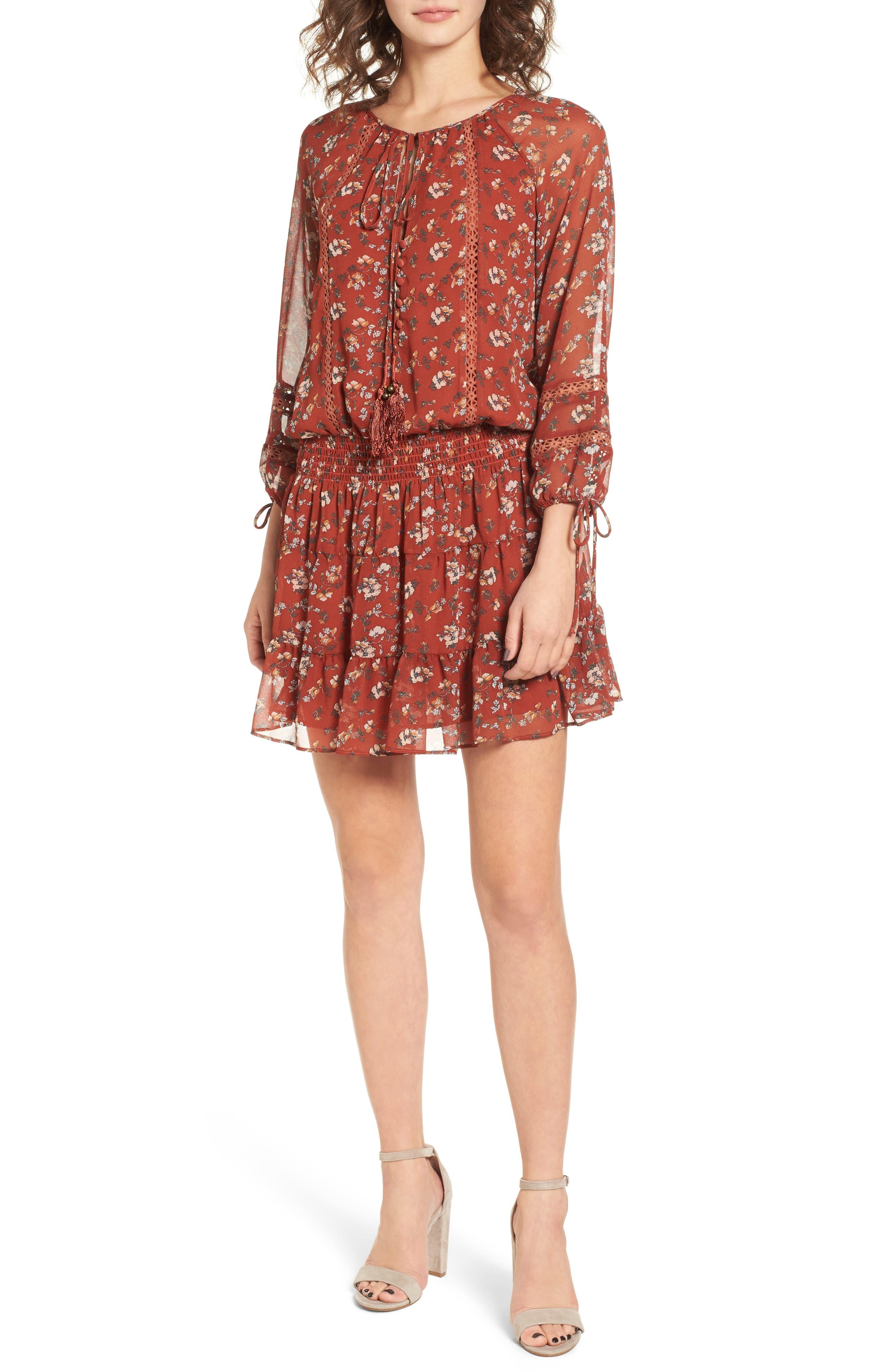 Le Marais Floral Print Dress,                         Main,                         color, Rust