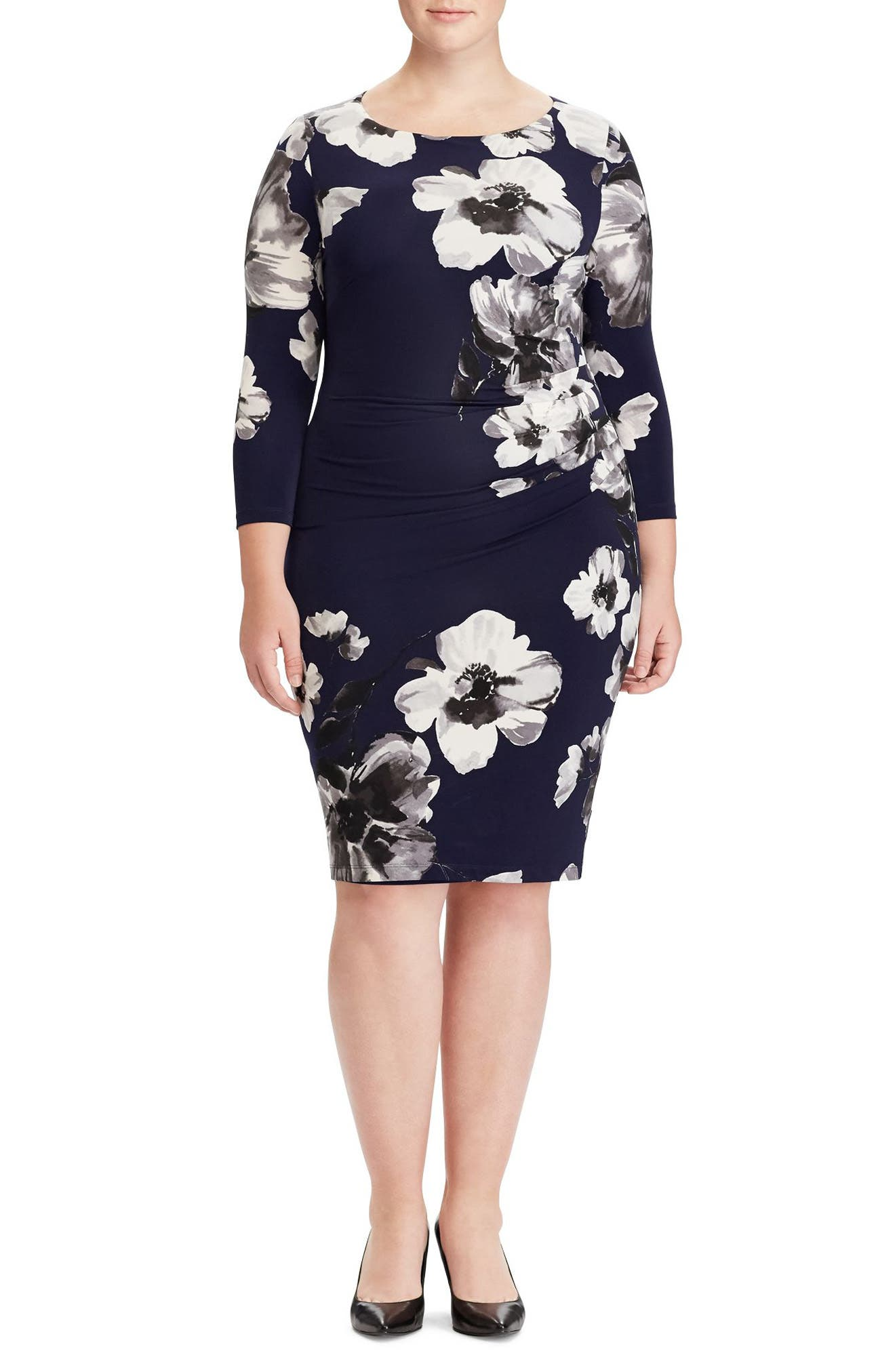 Floral Stretch Jersey Dress,                             Main thumbnail 1, color,                             Blackberry/ Slate/ Multi
