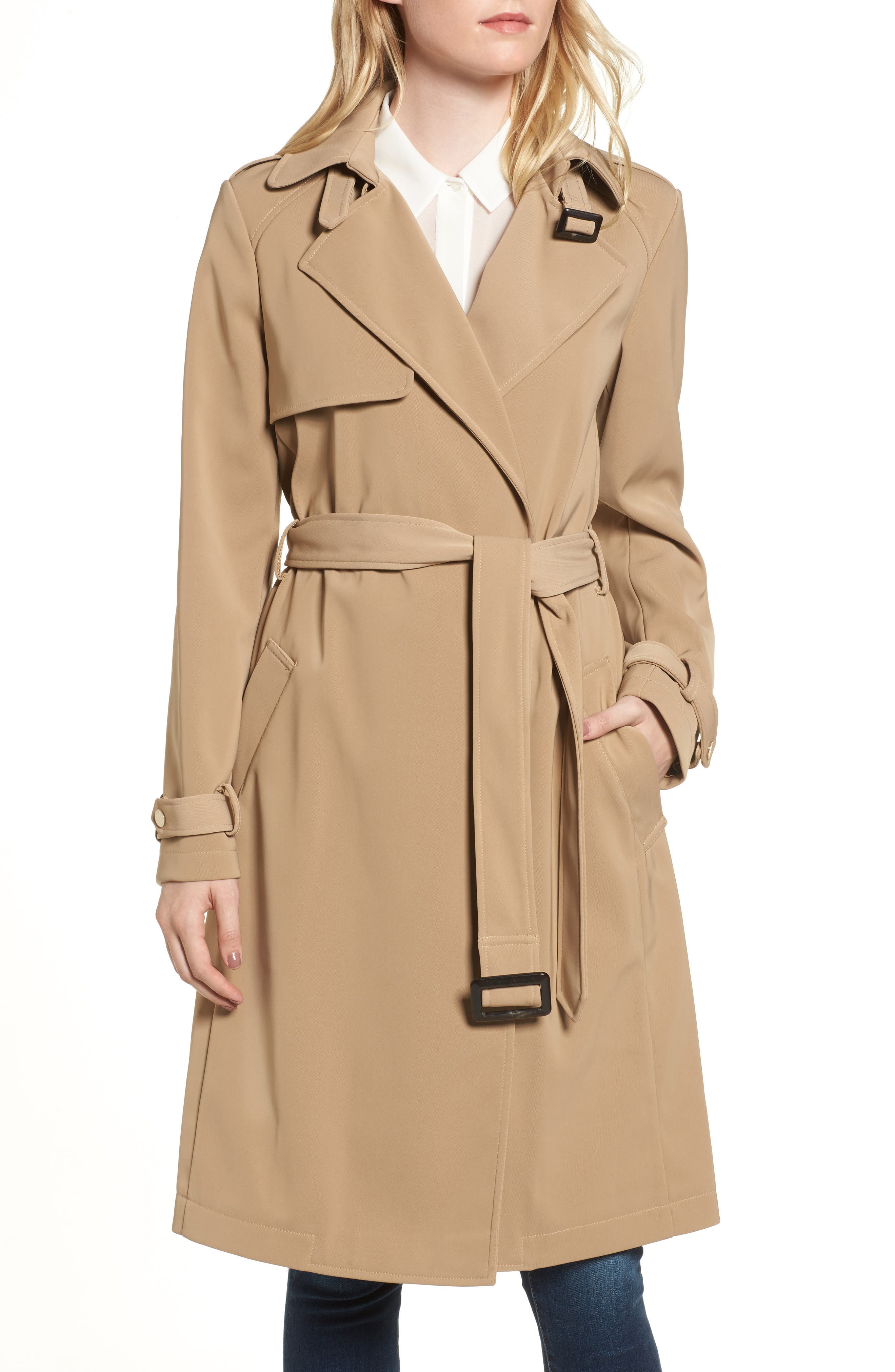 DKNY French Twill Water Resistant Trench Coat,                             Alternate thumbnail 4, color,                             Khaki