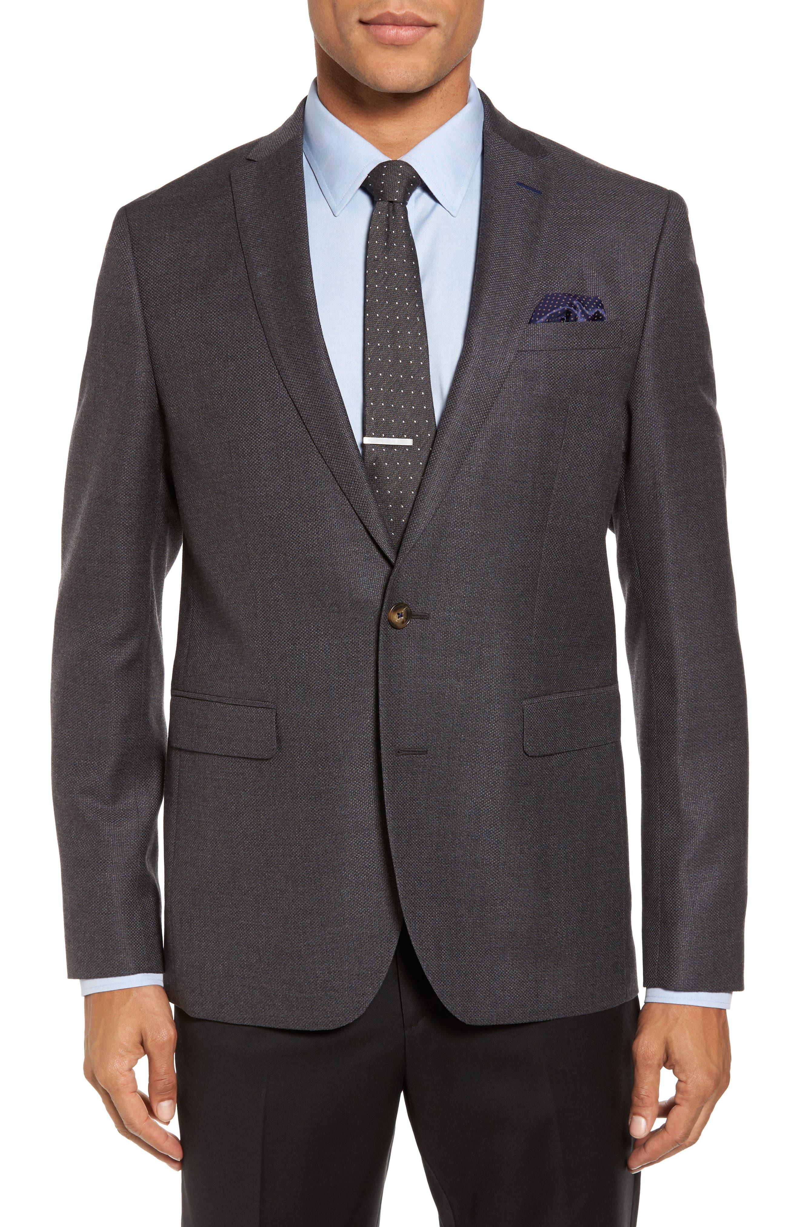 Trim Fit Wool Blazer,                         Main,                         color, Charcoal