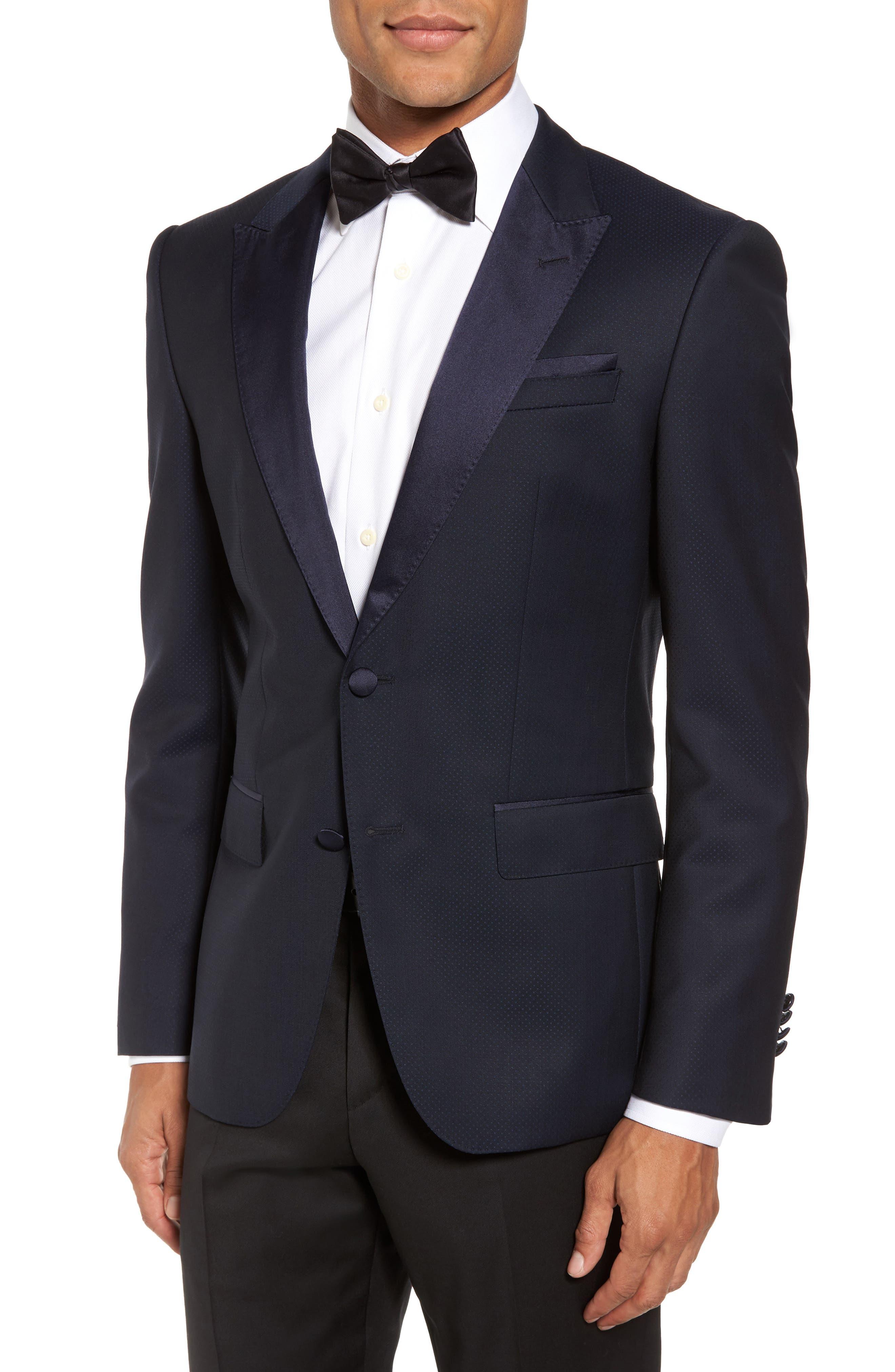 Helward Trim Fit Wool Dinner Jacket,                             Main thumbnail 1, color,                             Navy