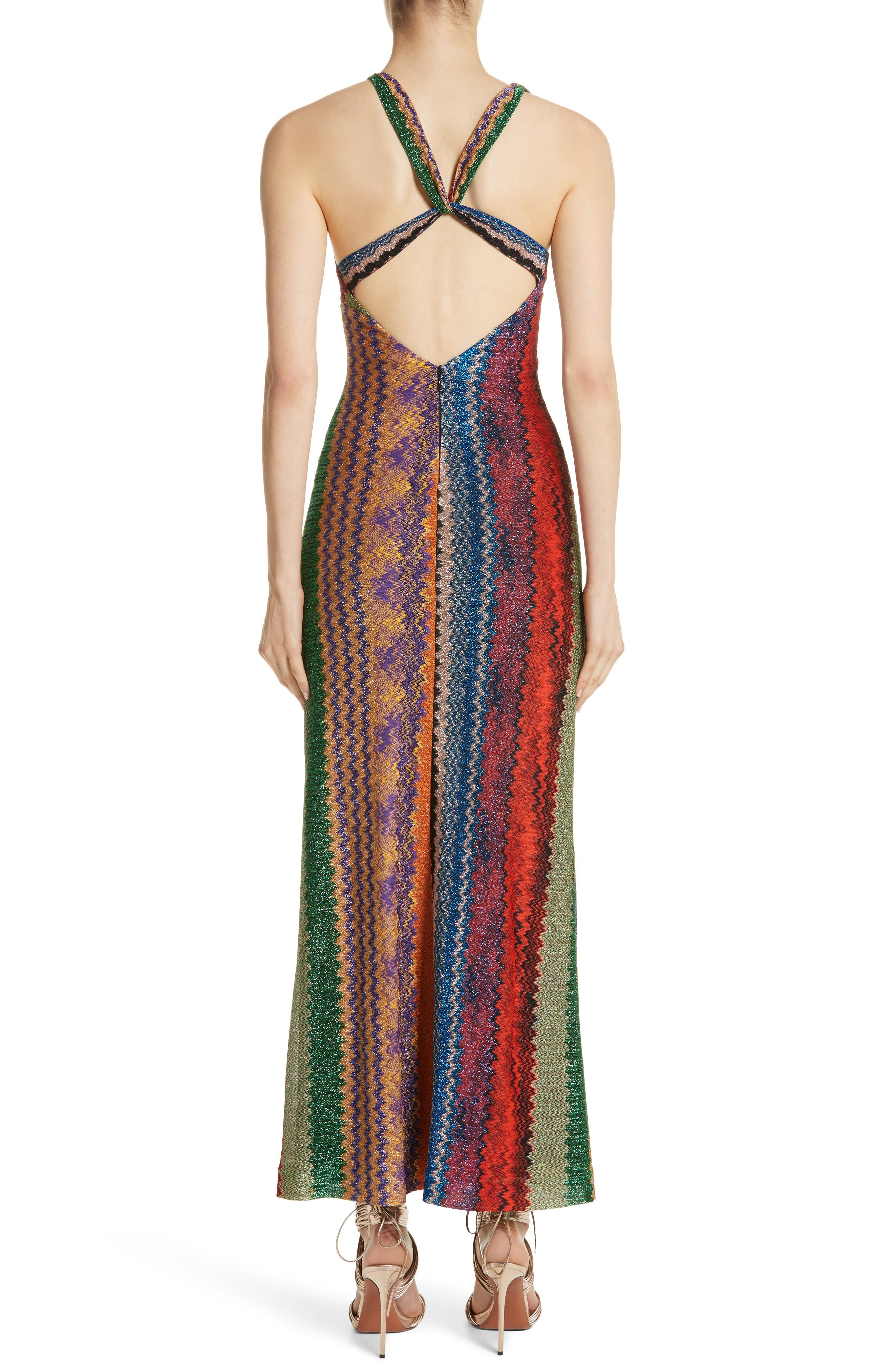 Metallic Zigzag Stripe Knit Gown,                             Alternate thumbnail 2, color,                             Multi