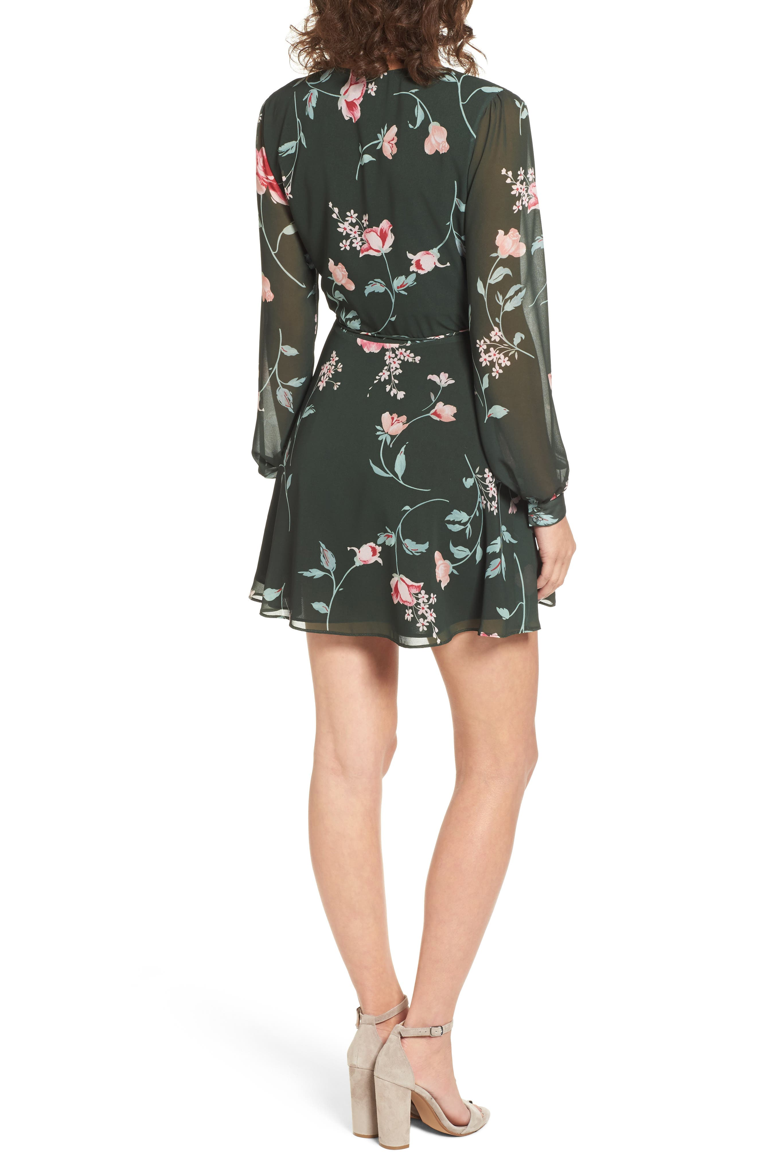 Castor Wrap Dress,                             Alternate thumbnail 2, color,                             Evergreen Floral
