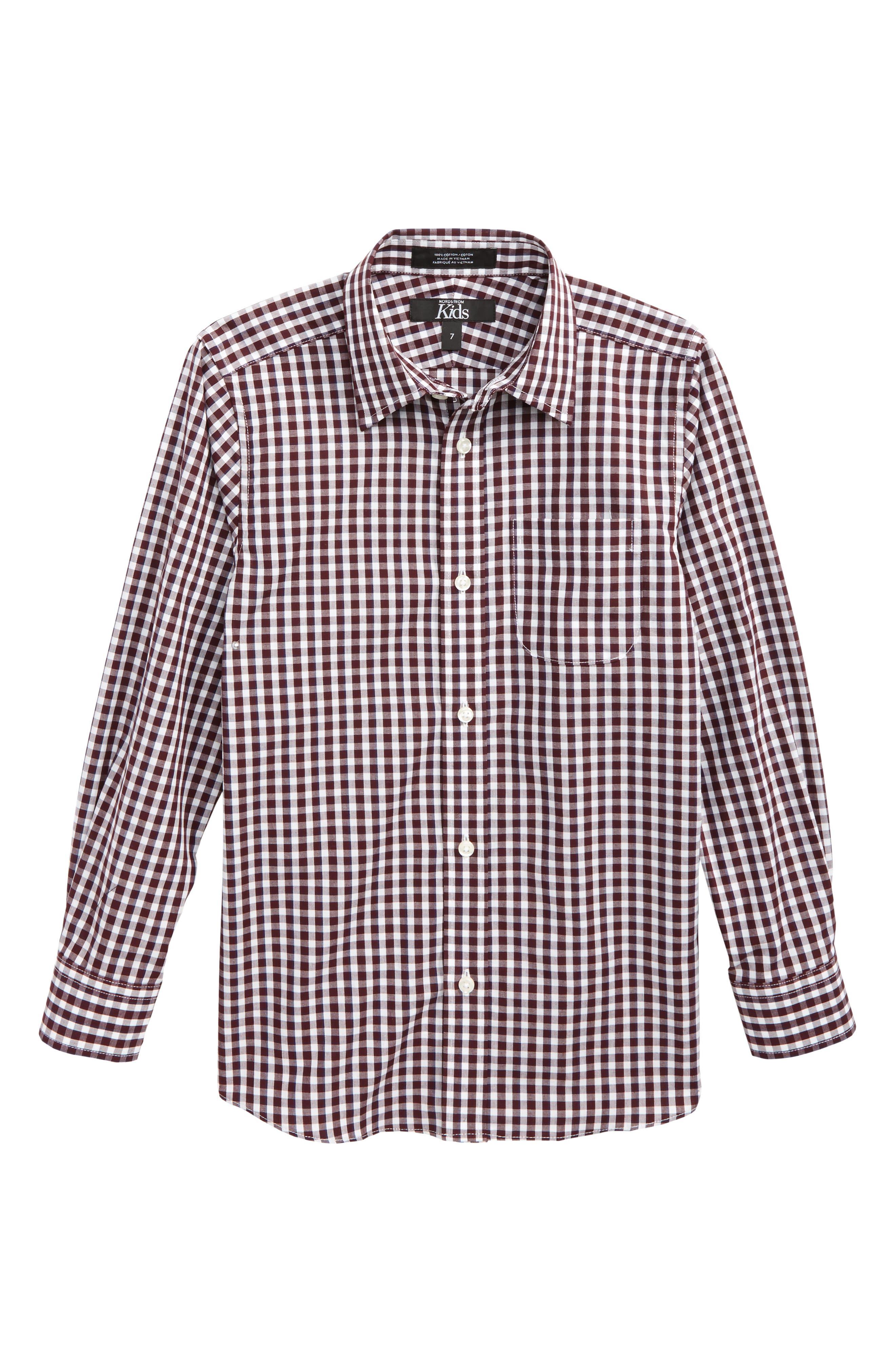 Check Dress Shirt,                         Main,                         color, Burgundy Stem-White Plaid