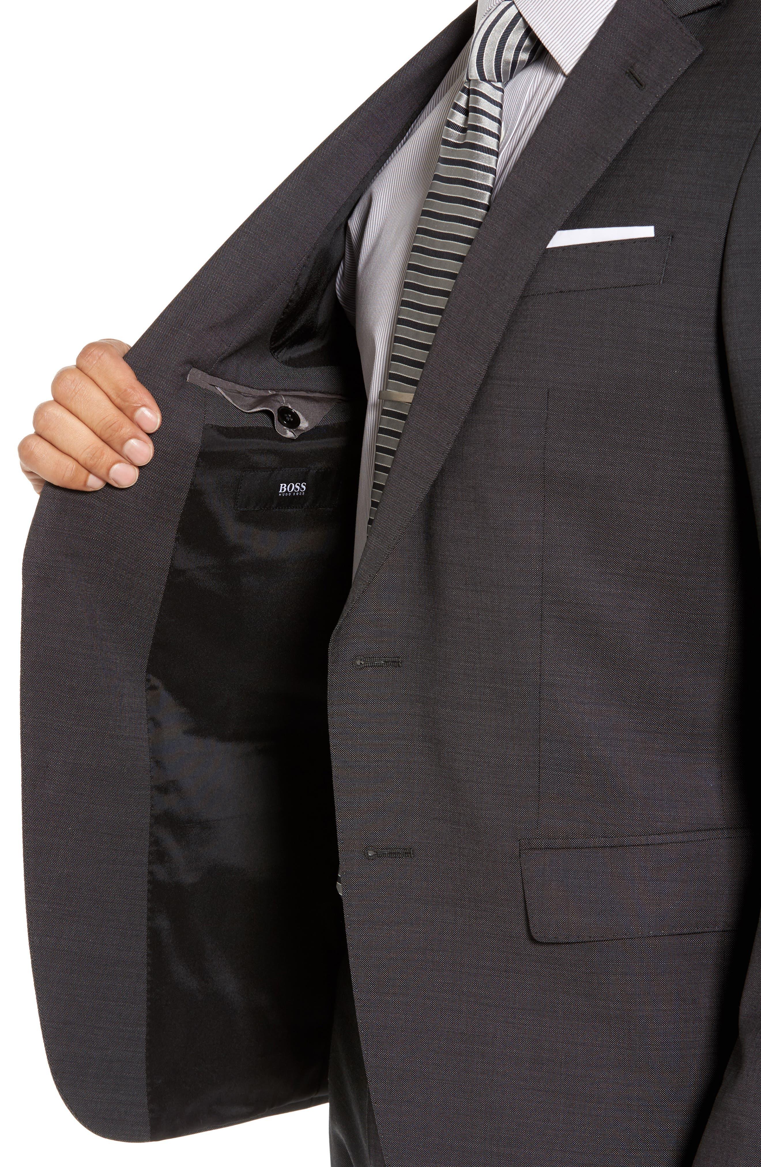 Huge/Genius Trim Fit Solid Wool Suit,                             Alternate thumbnail 4, color,                             Open Grey
