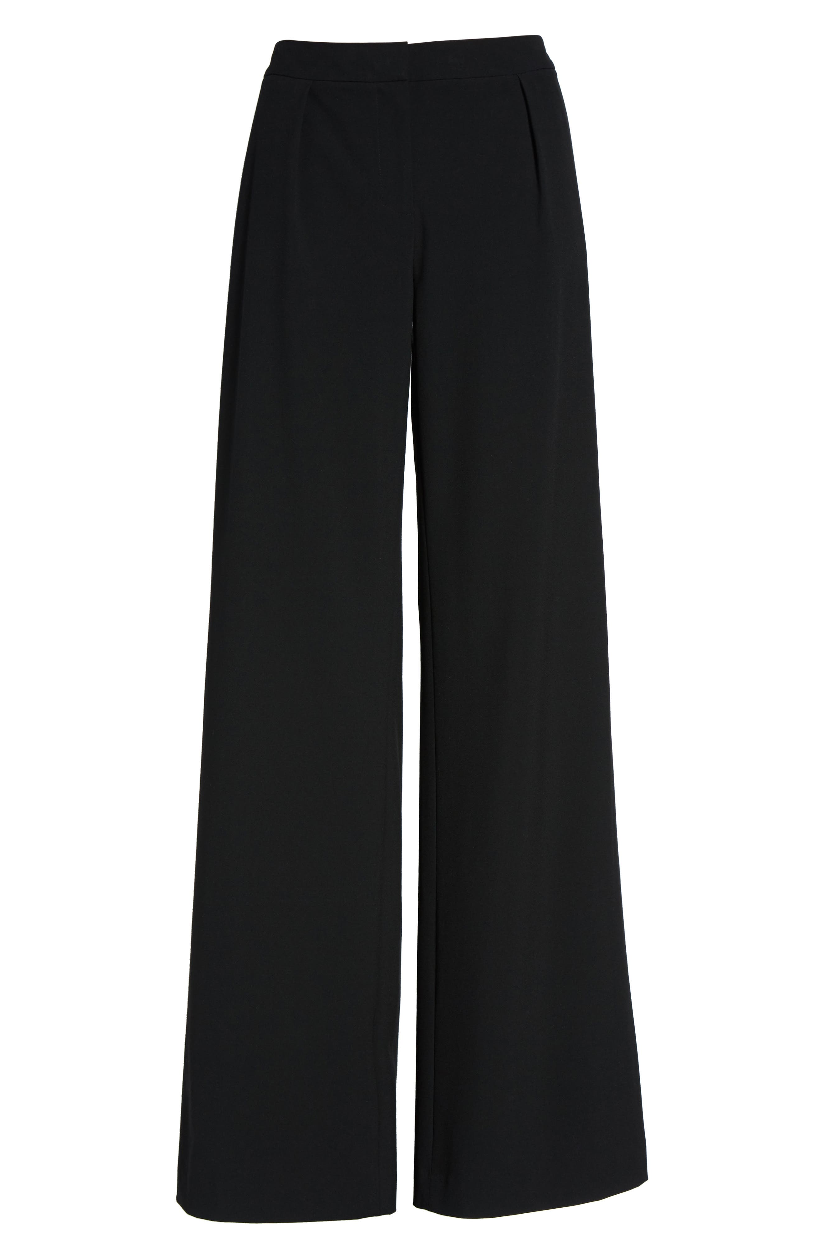High Waist Wide Leg Pants,                             Alternate thumbnail 6, color,                             Black