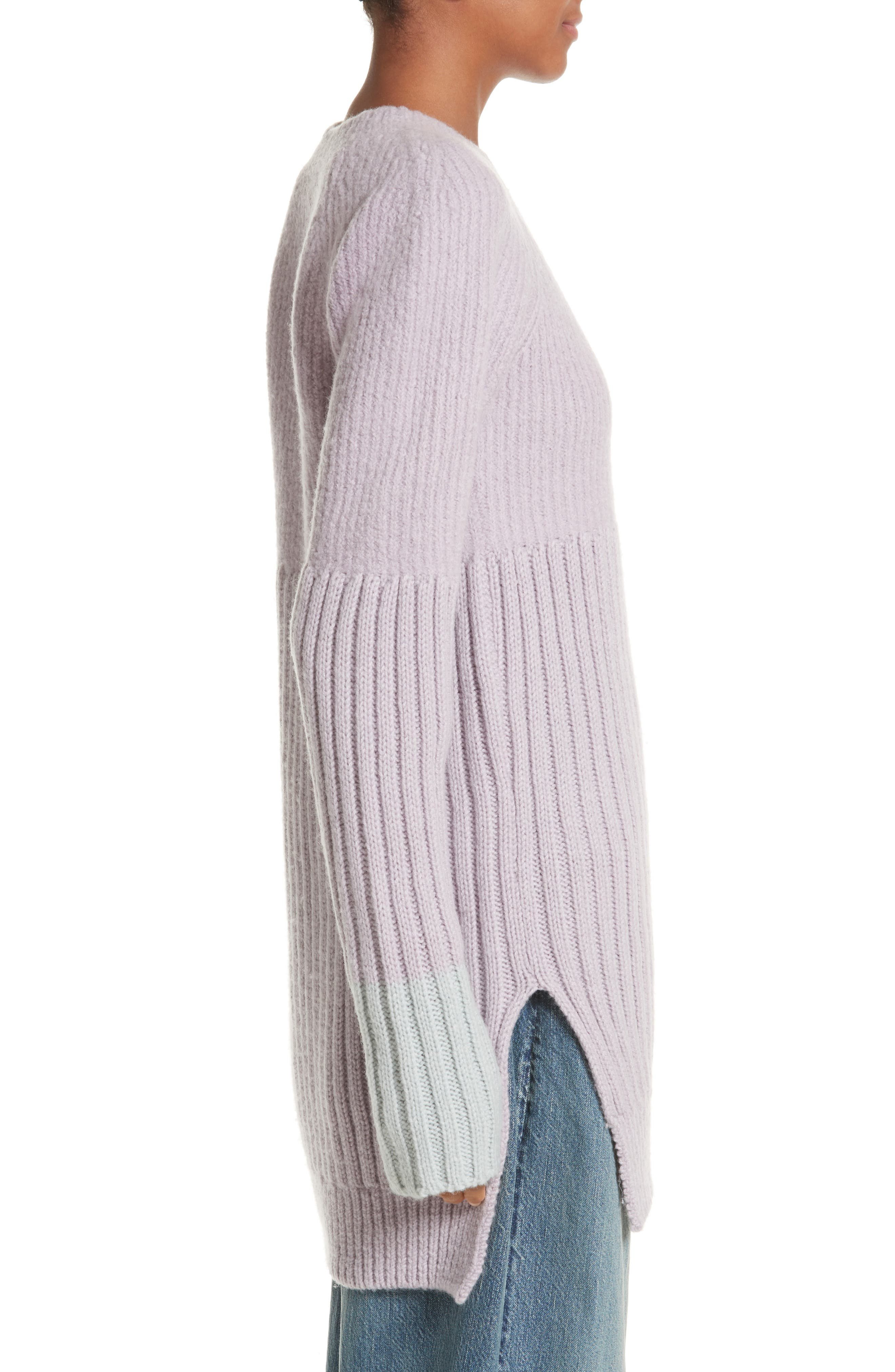 Wool Tunic Sweater,                             Alternate thumbnail 3, color,                             Lavendar